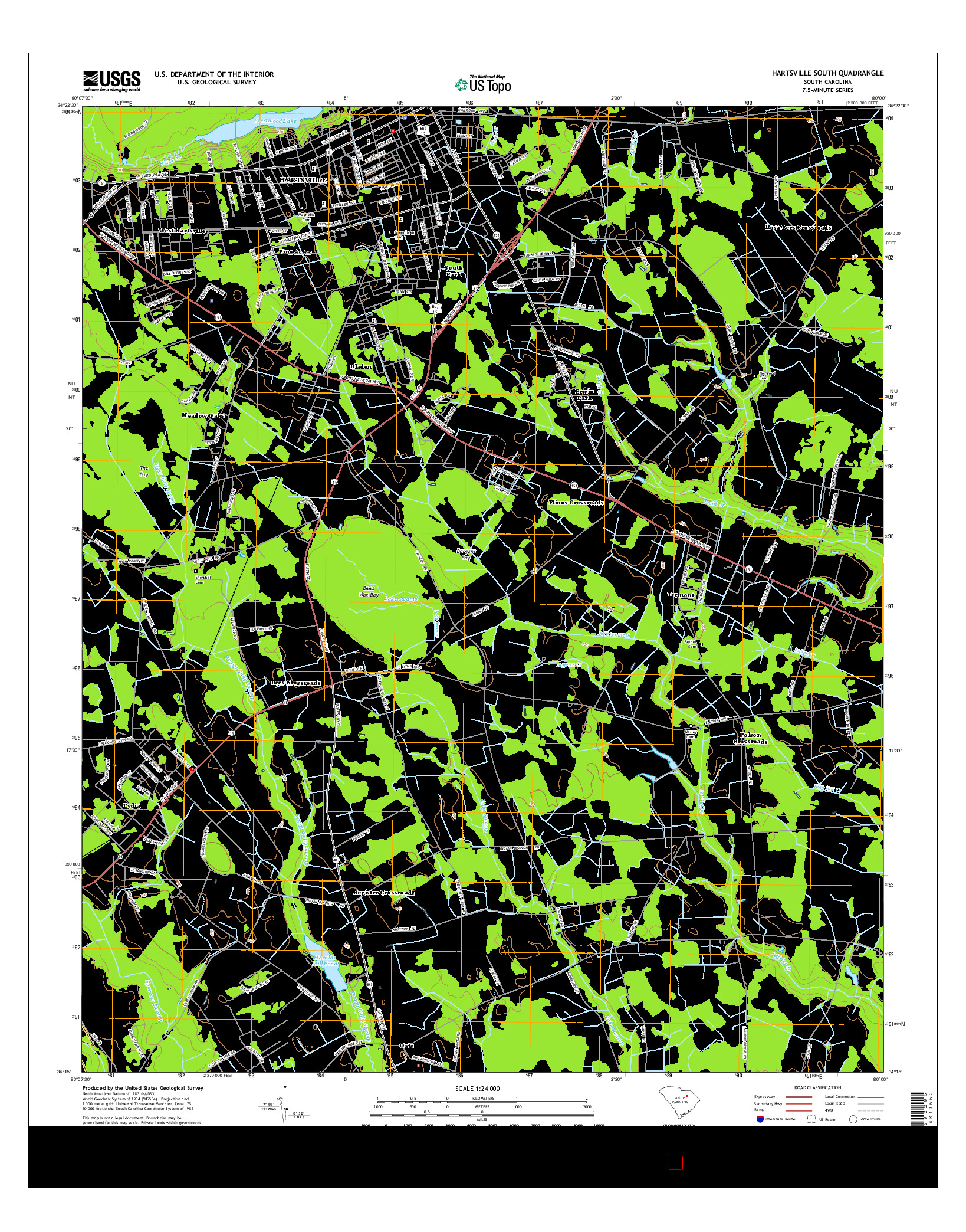 USGS US TOPO 7.5-MINUTE MAP FOR HARTSVILLE SOUTH, SC 2014