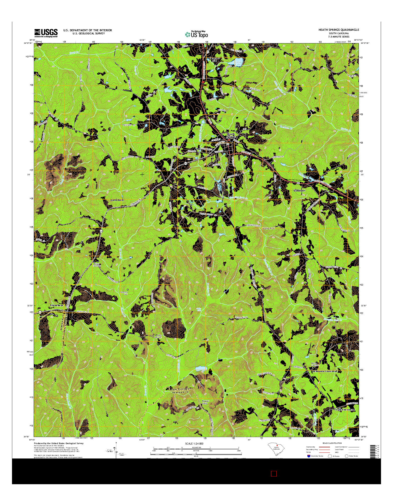 USGS US TOPO 7.5-MINUTE MAP FOR HEATH SPRINGS, SC 2014