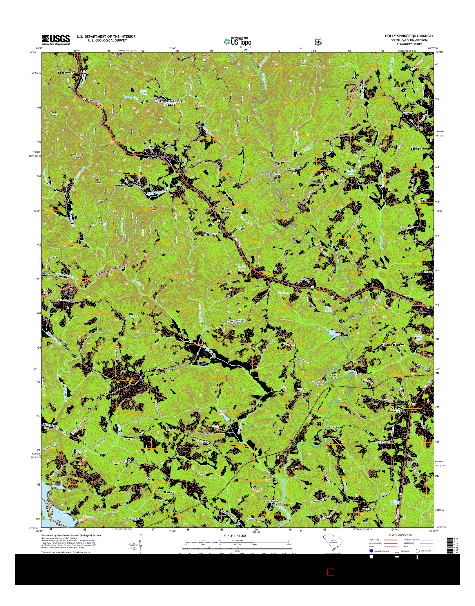 USGS US TOPO 7.5-MINUTE MAP FOR HOLLY SPRINGS, SC-GA 2014