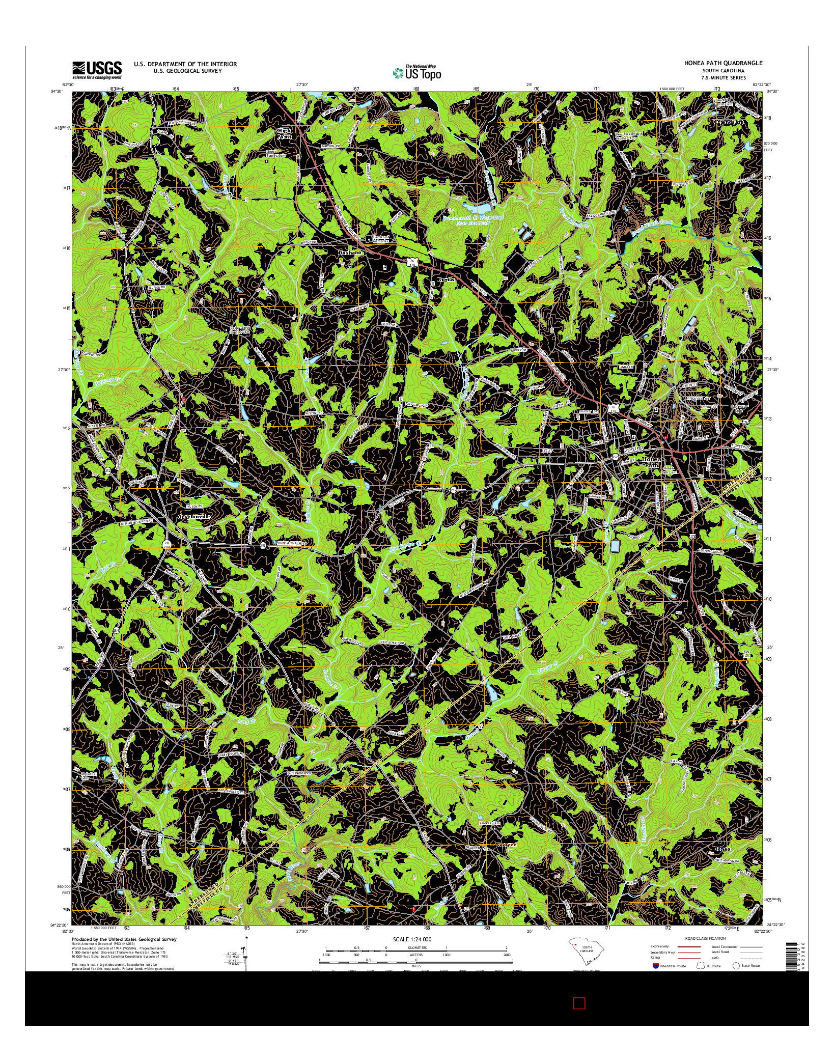 USGS US TOPO 7.5-MINUTE MAP FOR HONEA PATH, SC 2014