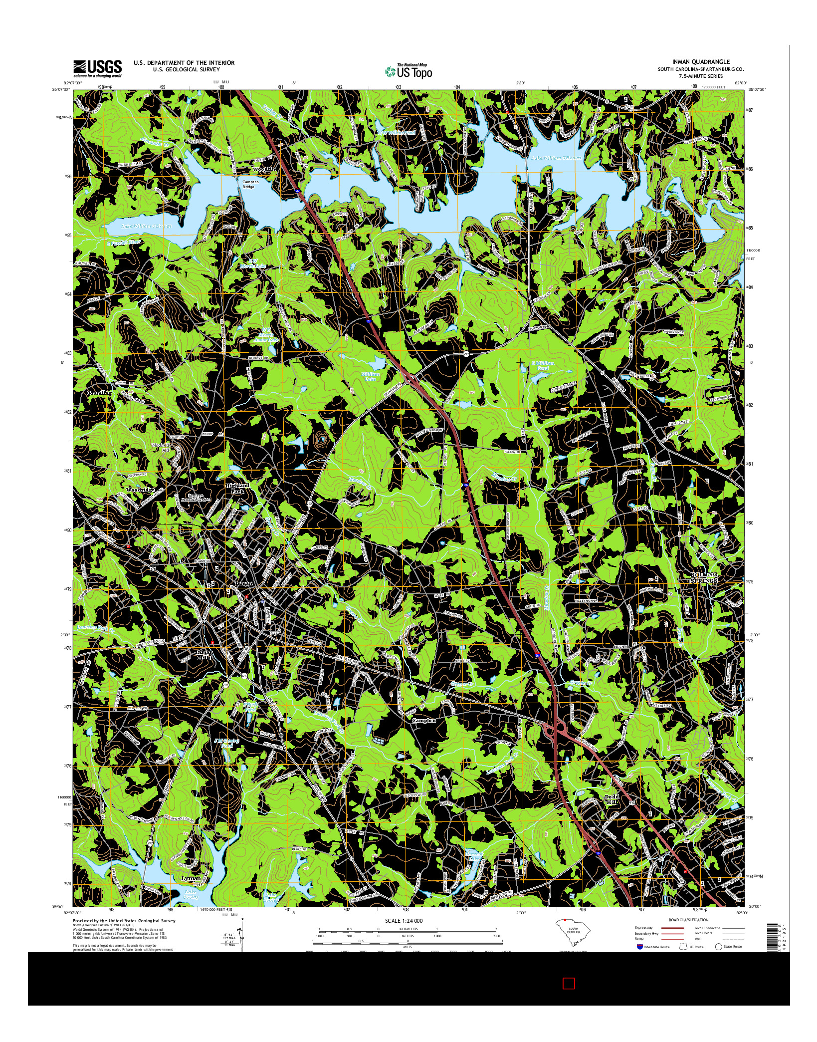 USGS US TOPO 7.5-MINUTE MAP FOR INMAN, SC 2014