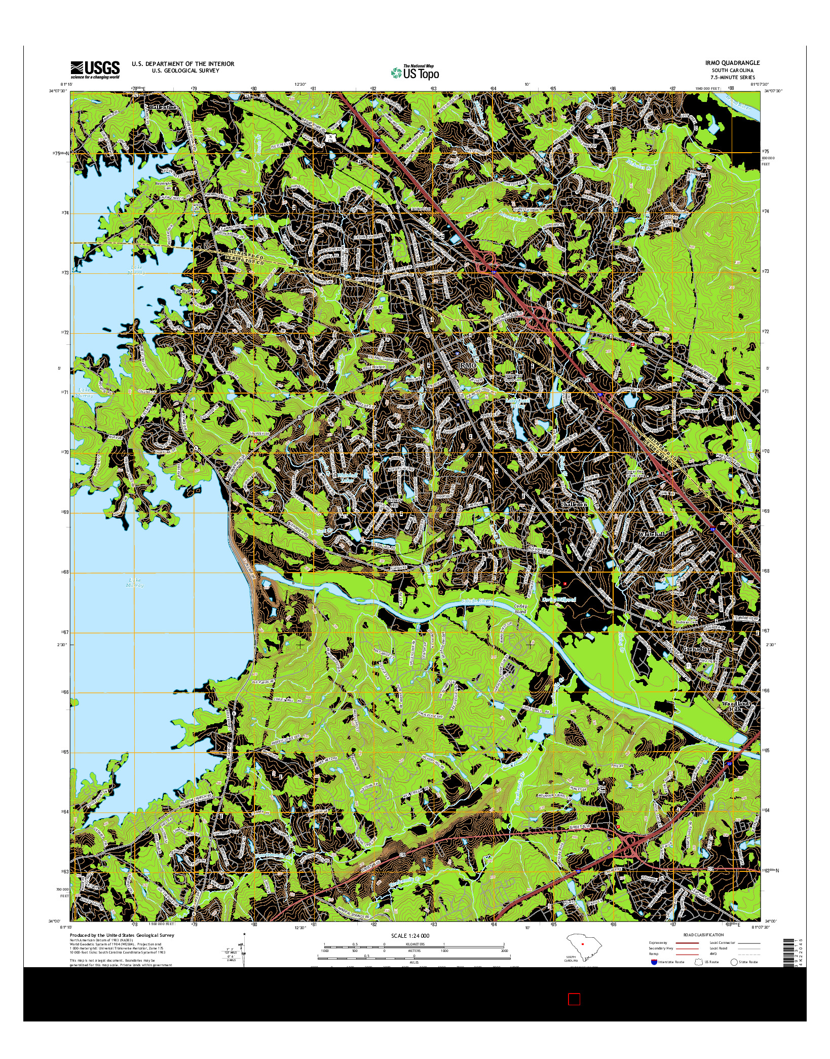 USGS US TOPO 7.5-MINUTE MAP FOR IRMO, SC 2014