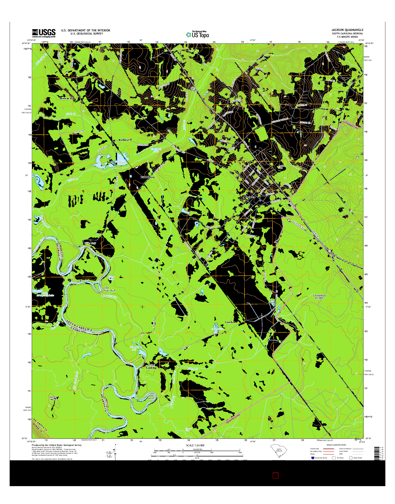 USGS US TOPO 7.5-MINUTE MAP FOR JACKSON, SC-GA 2014