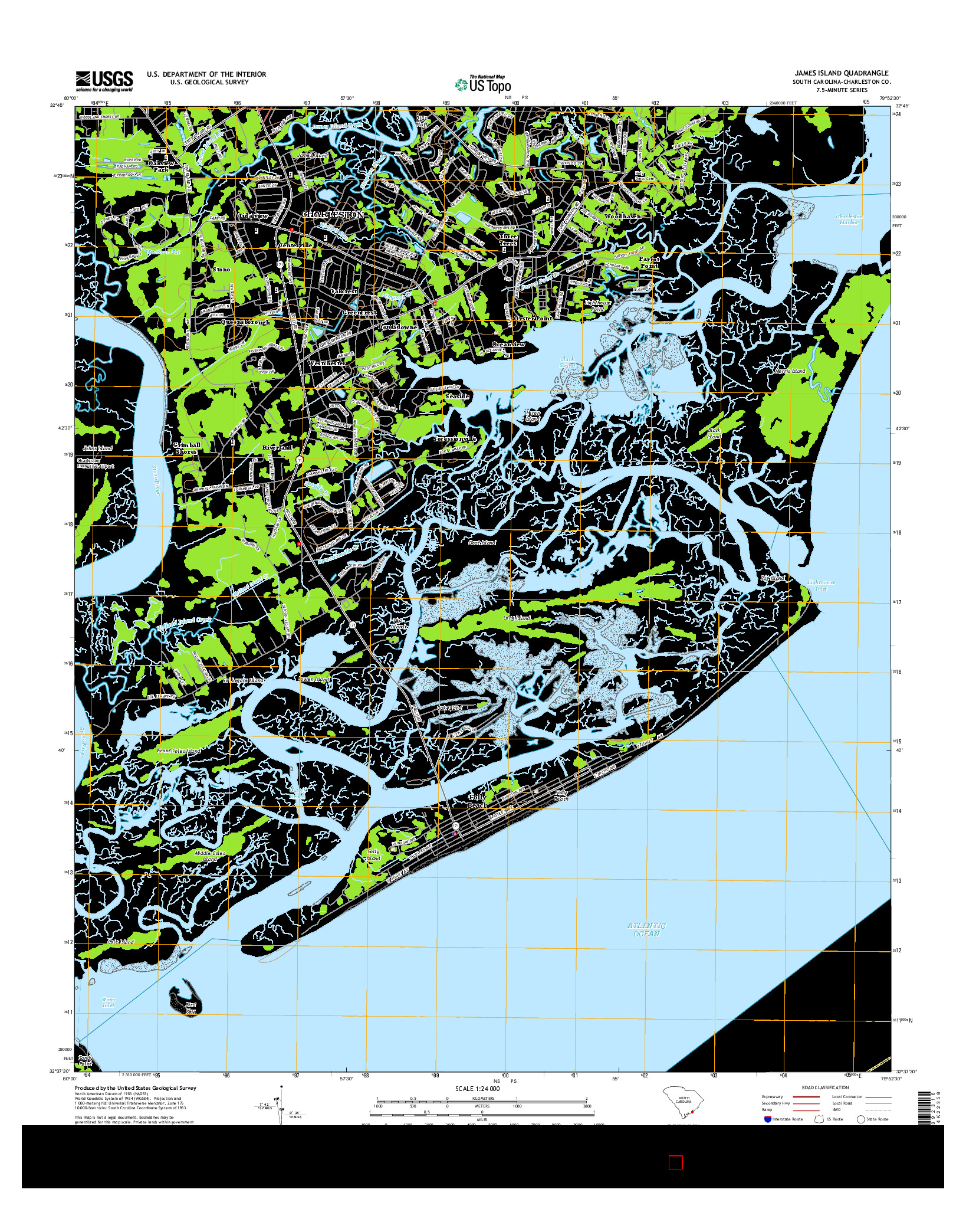 USGS US TOPO 7.5-MINUTE MAP FOR JAMES ISLAND, SC 2014