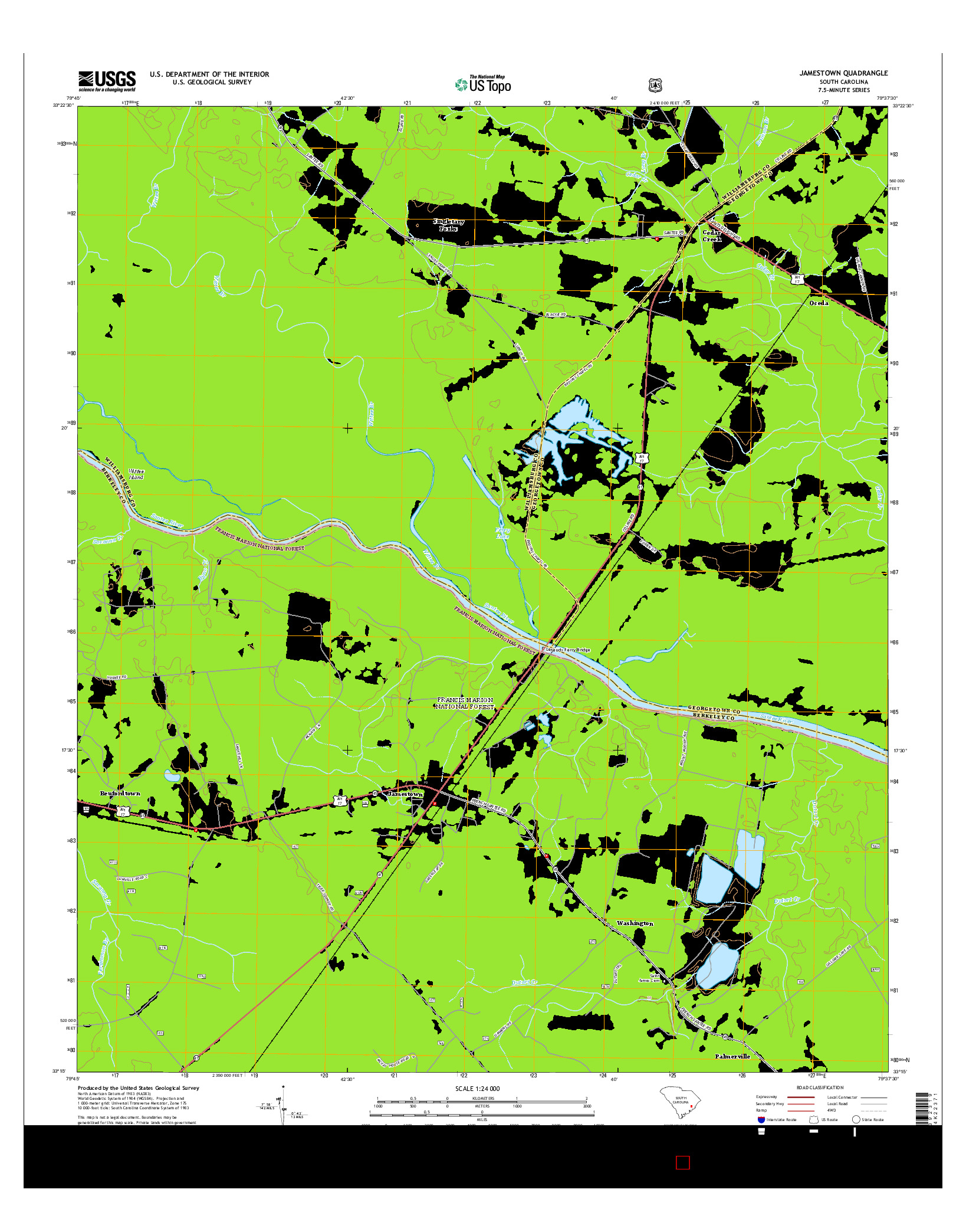USGS US TOPO 7.5-MINUTE MAP FOR JAMESTOWN, SC 2014