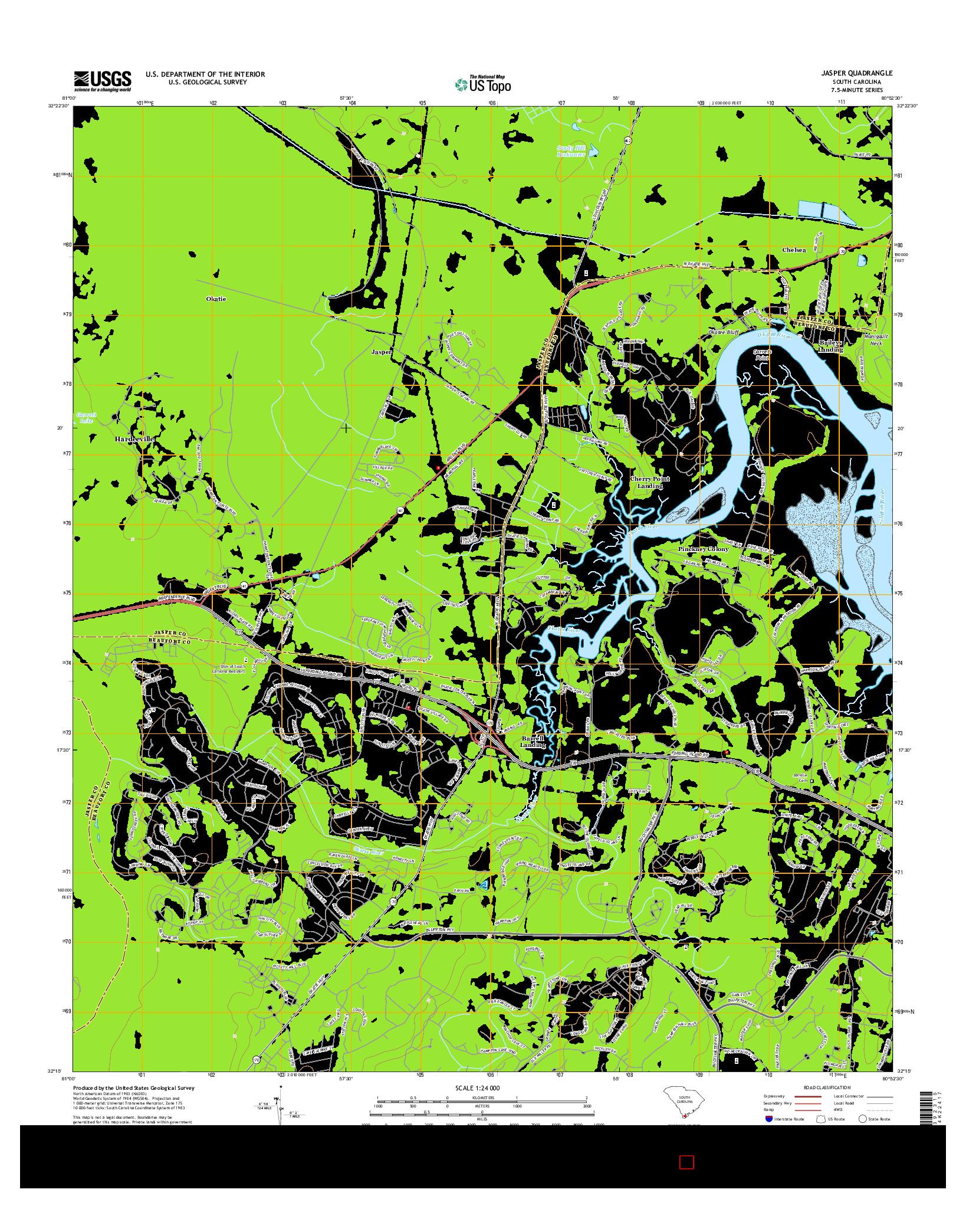 USGS US TOPO 7.5-MINUTE MAP FOR JASPER, SC 2014