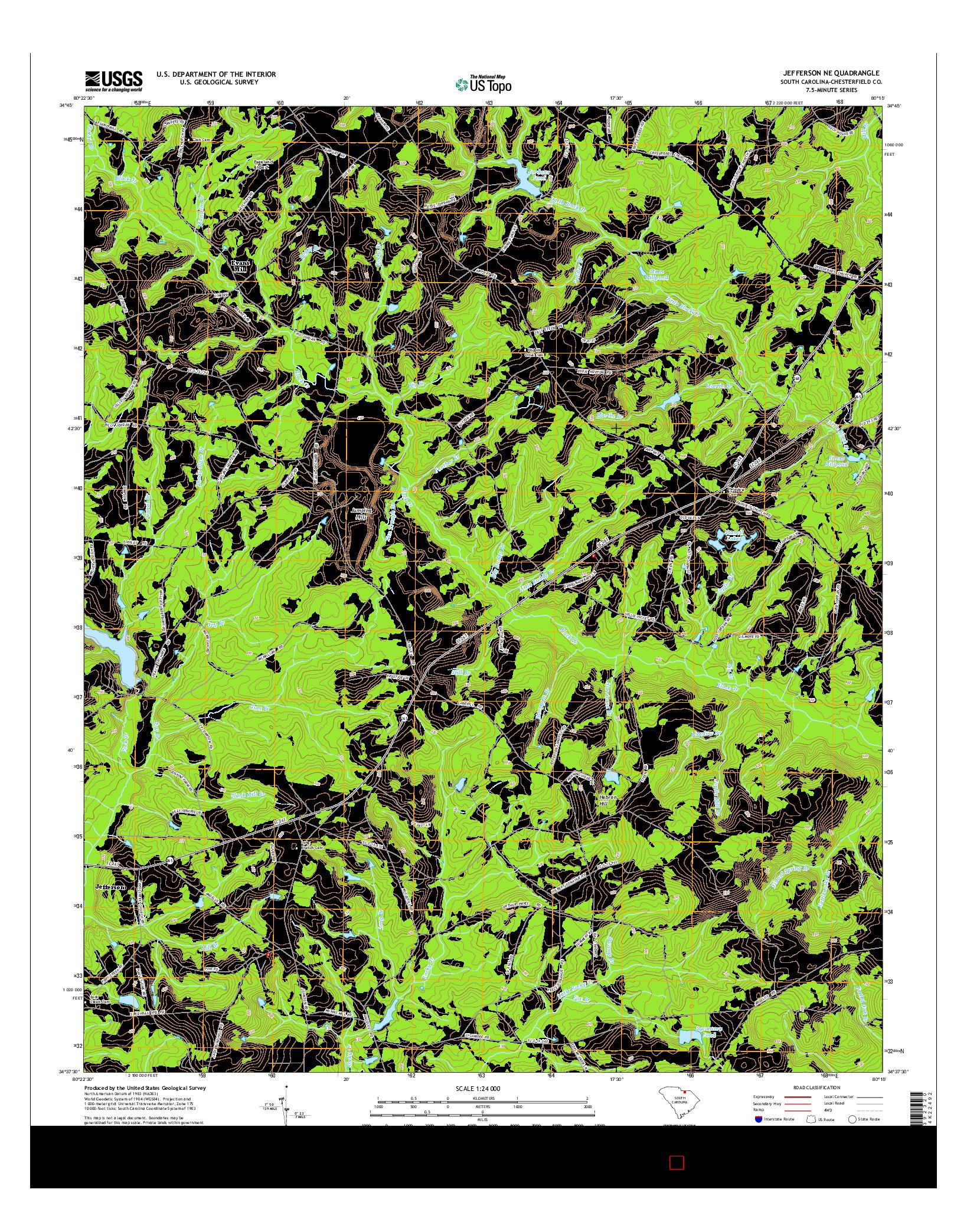 USGS US TOPO 7.5-MINUTE MAP FOR JEFFERSON NE, SC 2014