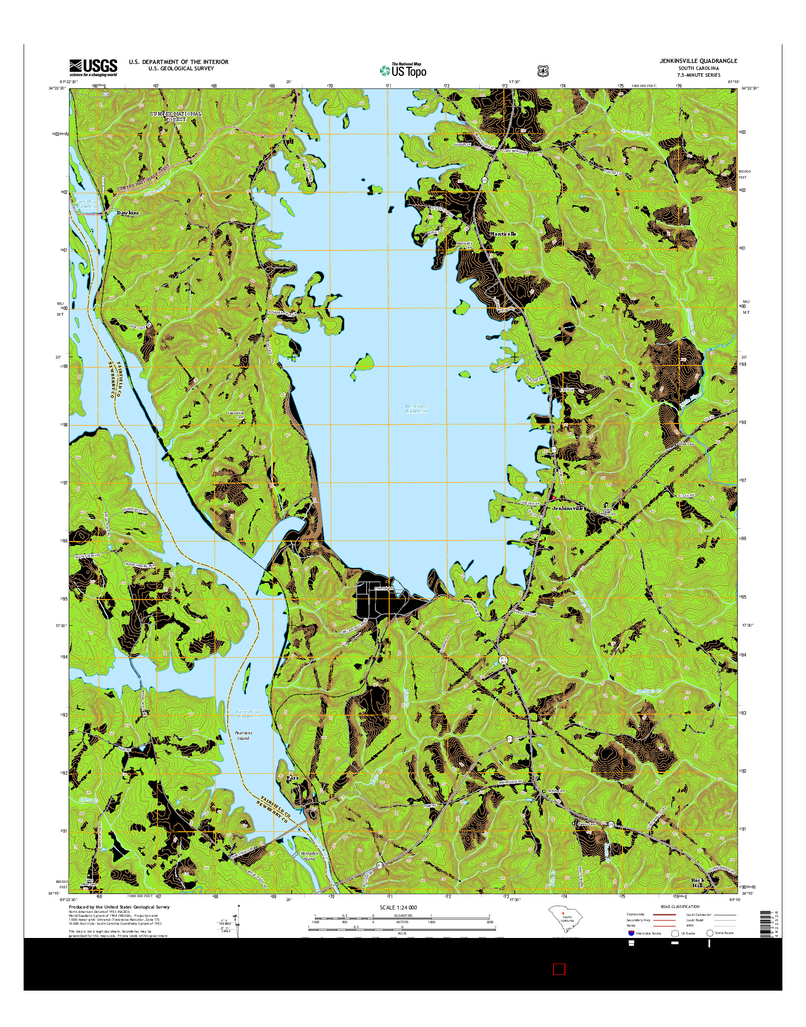USGS US TOPO 7.5-MINUTE MAP FOR JENKINSVILLE, SC 2014