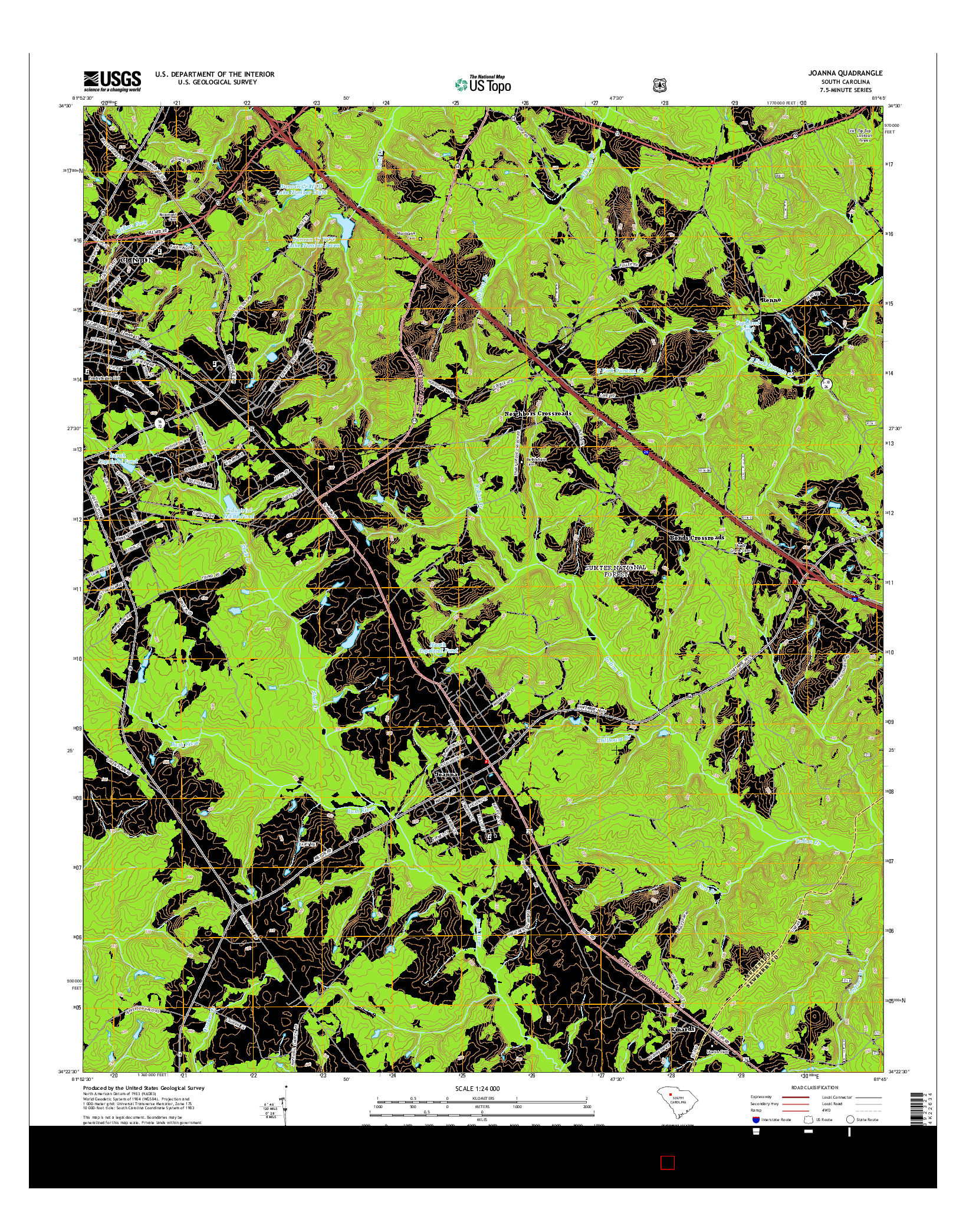 USGS US TOPO 7.5-MINUTE MAP FOR JOANNA, SC 2014