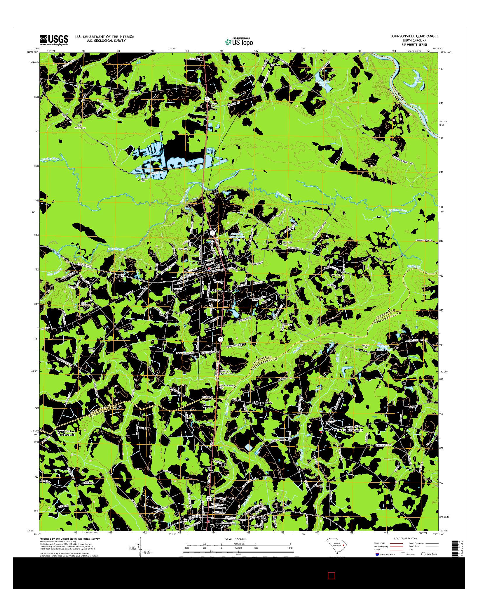 USGS US TOPO 7.5-MINUTE MAP FOR JOHNSONVILLE, SC 2014
