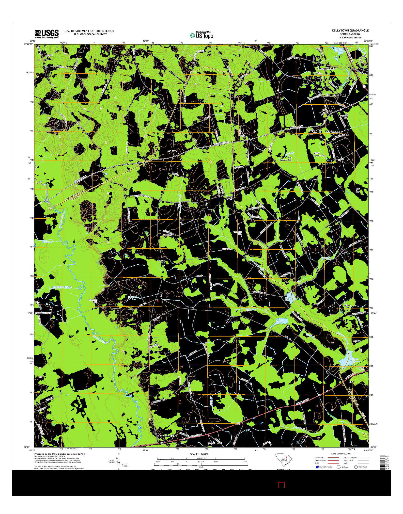 USGS US TOPO 7.5-MINUTE MAP FOR KELLYTOWN, SC 2014