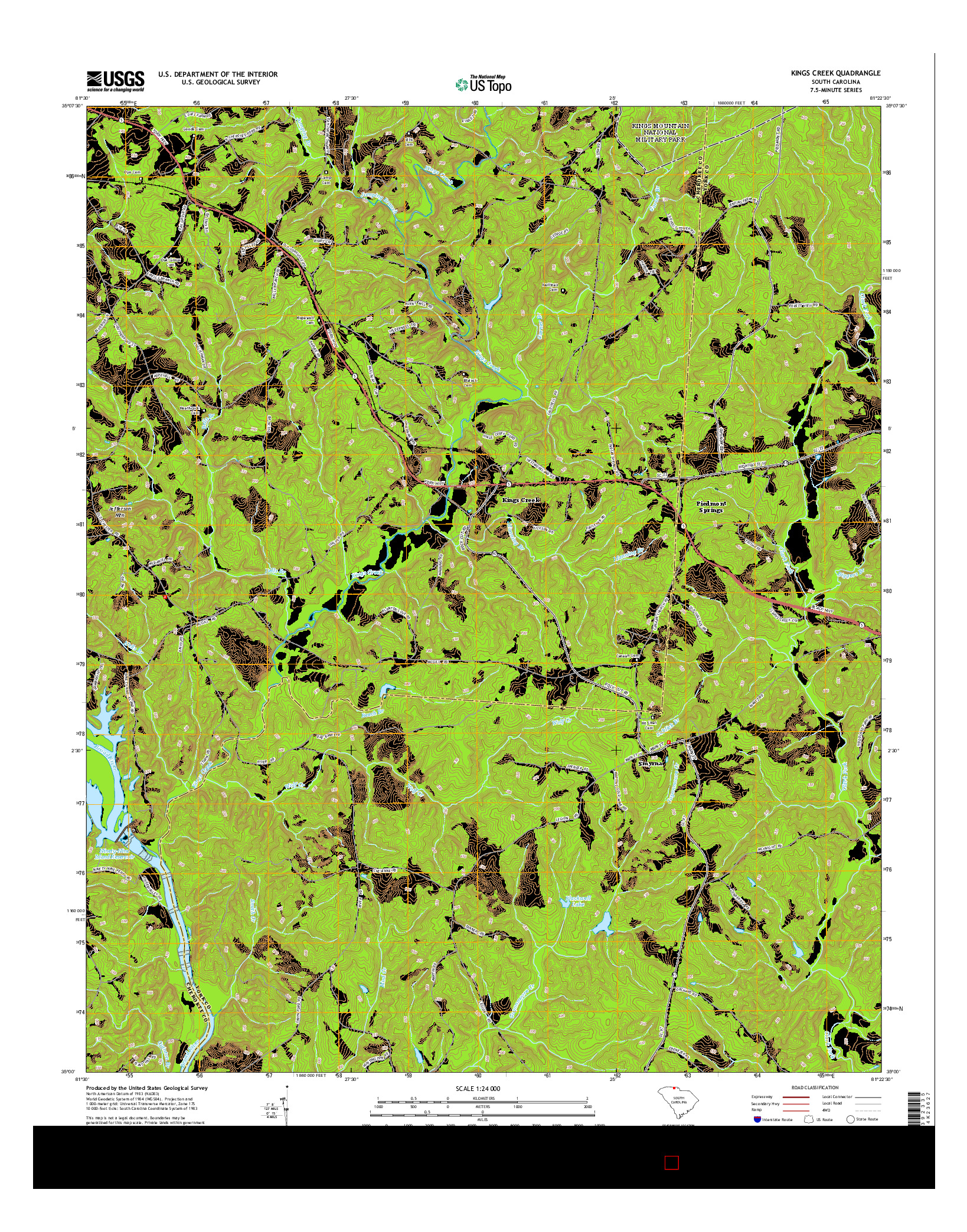 USGS US TOPO 7.5-MINUTE MAP FOR KINGS CREEK, SC 2014