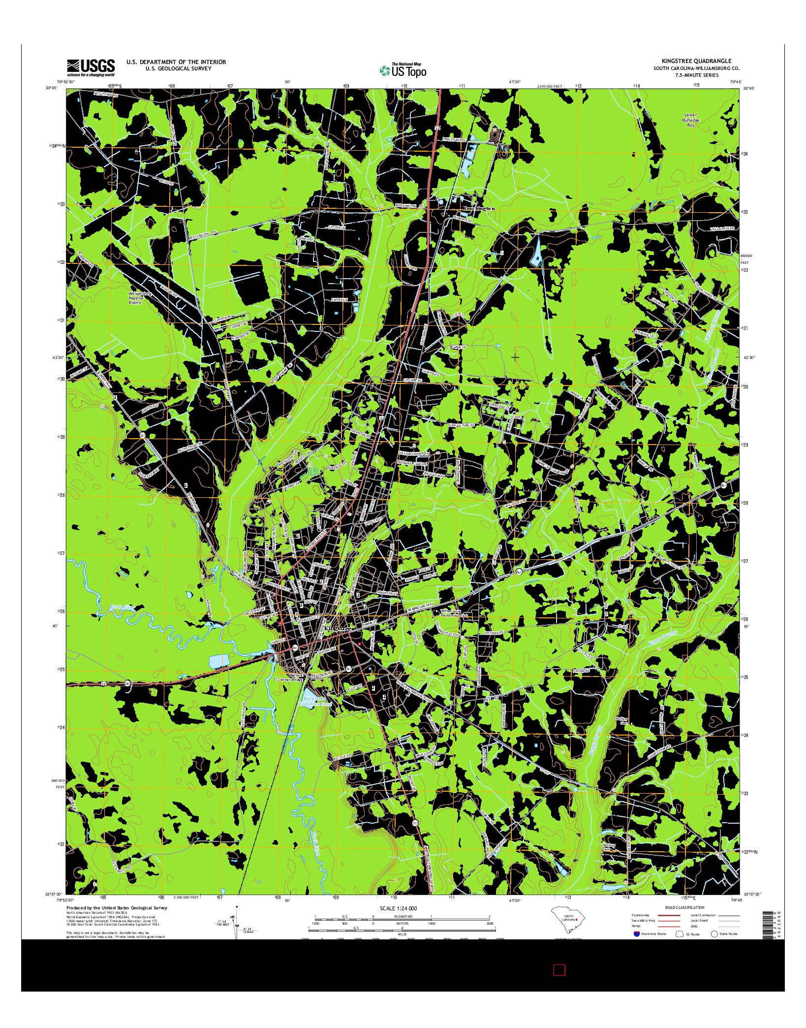 USGS US TOPO 7.5-MINUTE MAP FOR KINGSTREE, SC 2014