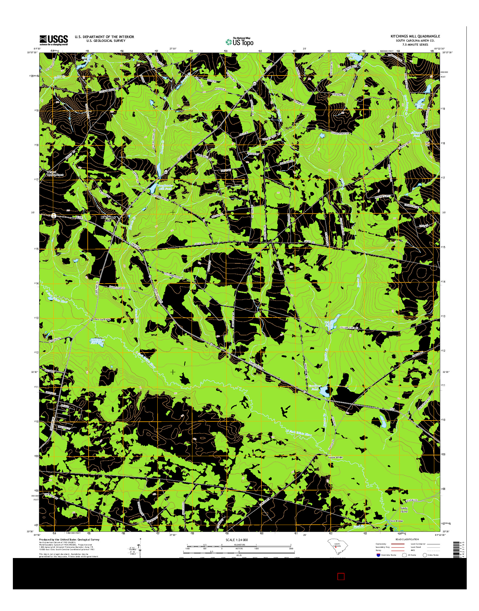 USGS US TOPO 7.5-MINUTE MAP FOR KITCHINGS MILL, SC 2014