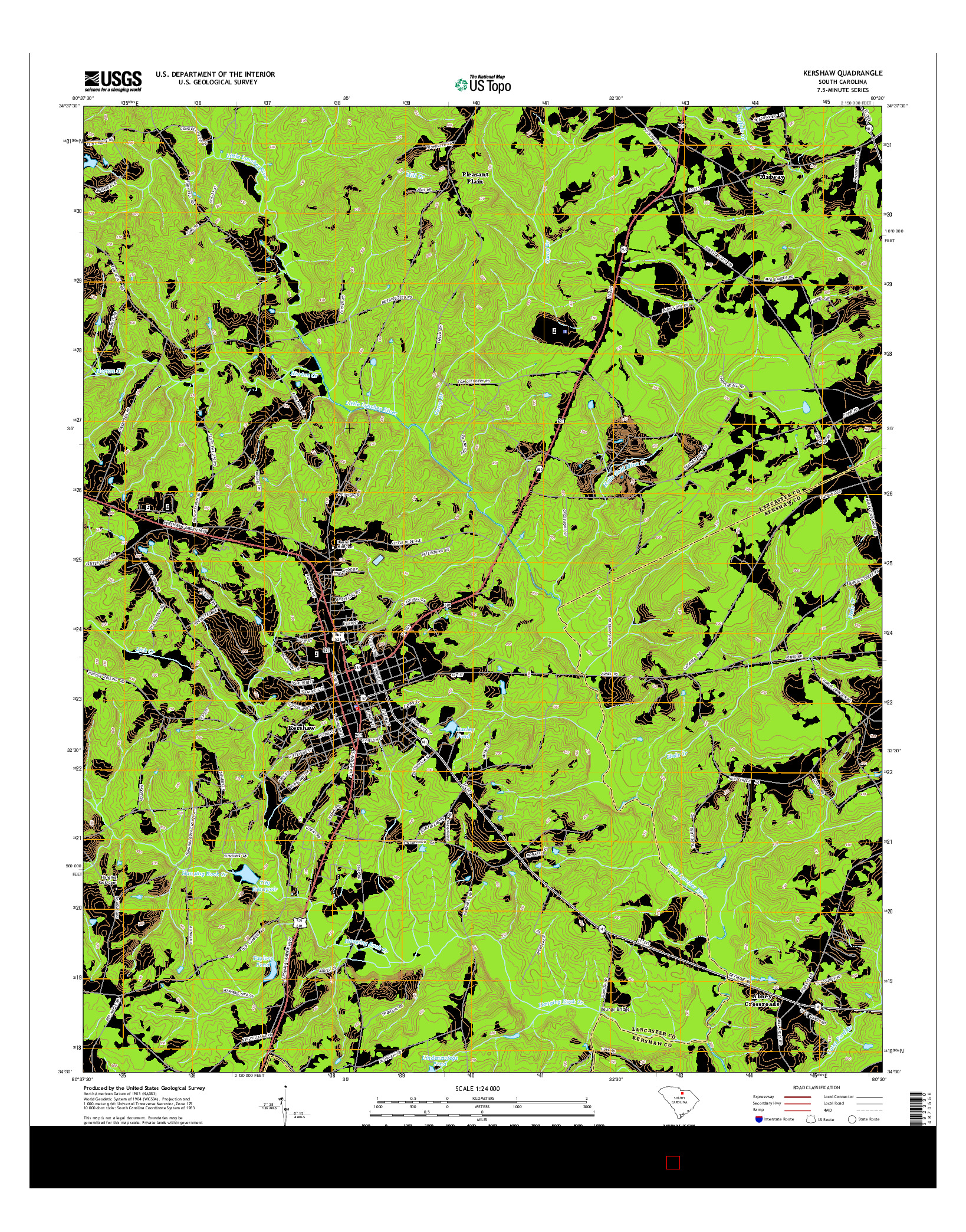 USGS US TOPO 7.5-MINUTE MAP FOR KERSHAW, SC 2014