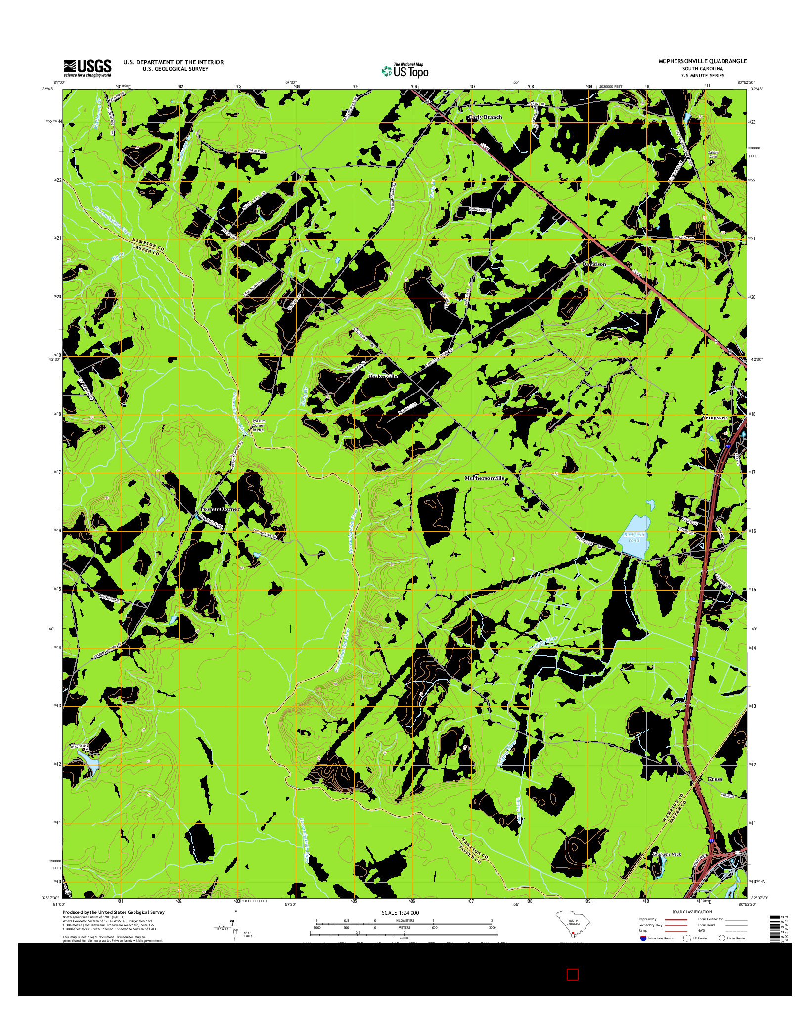 USGS US TOPO 7.5-MINUTE MAP FOR MCPHERSONVILLE, SC 2014