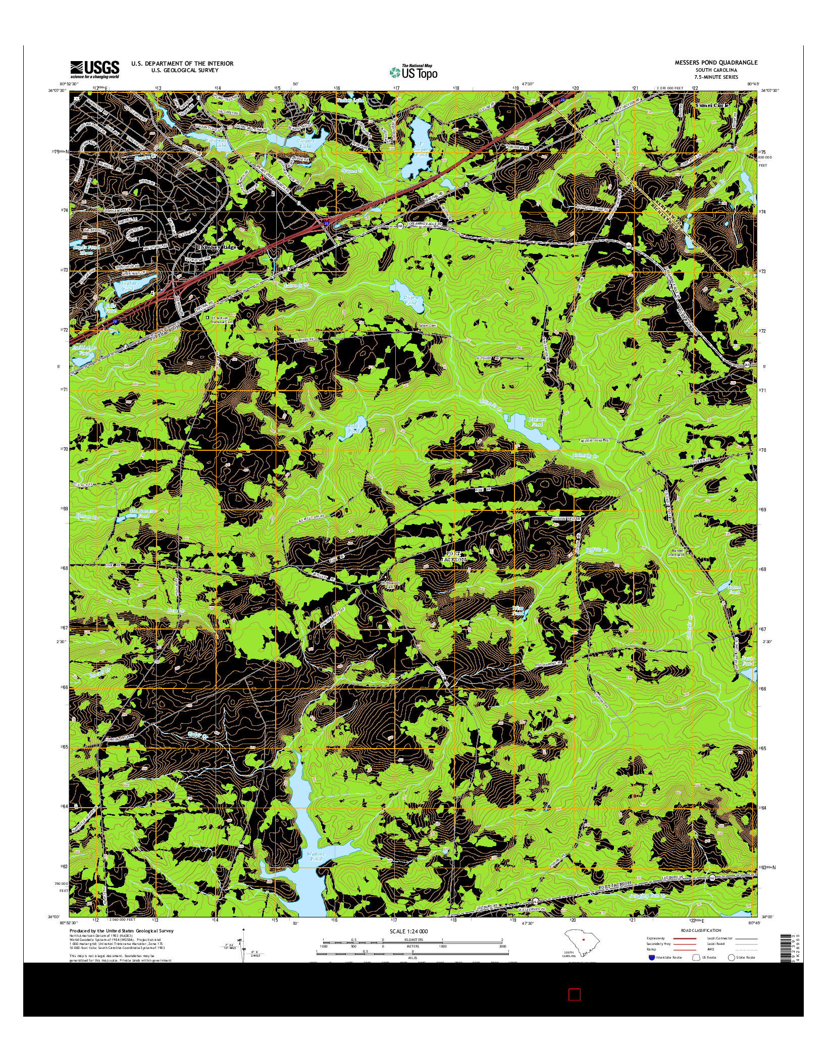 USGS US TOPO 7.5-MINUTE MAP FOR MESSERS POND, SC 2014