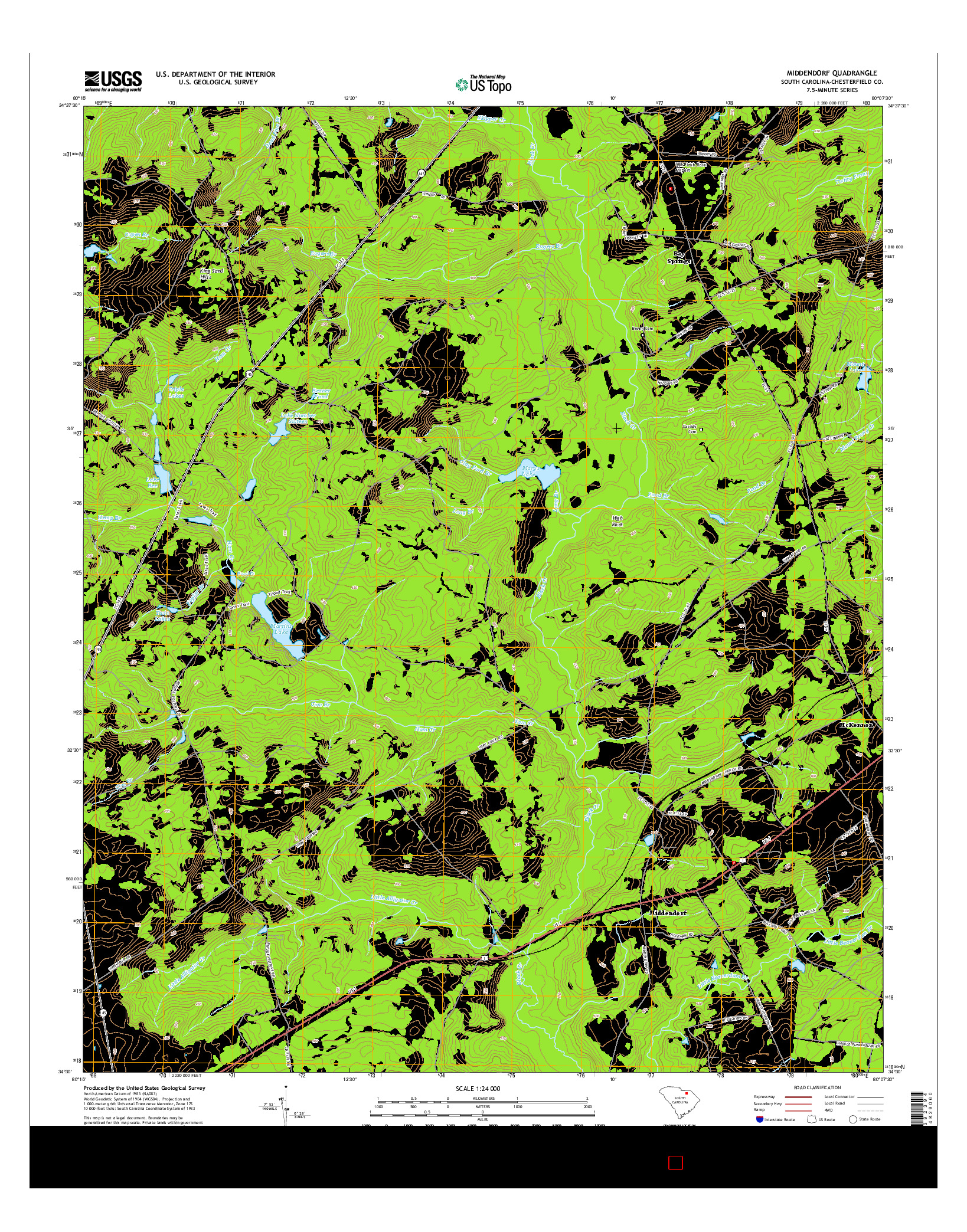 USGS US TOPO 7.5-MINUTE MAP FOR MIDDENDORF, SC 2014