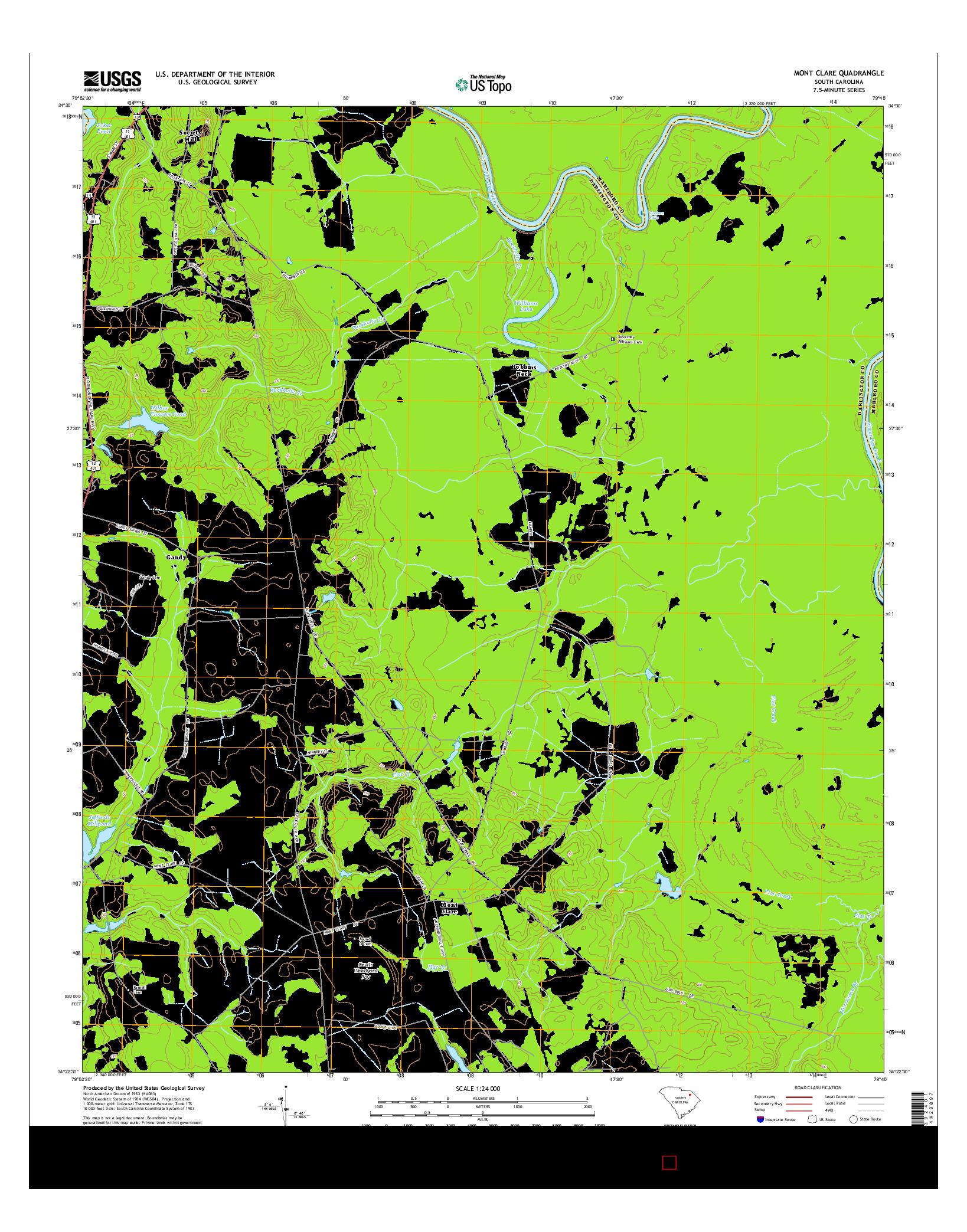 USGS US TOPO 7.5-MINUTE MAP FOR MONT CLARE, SC 2014