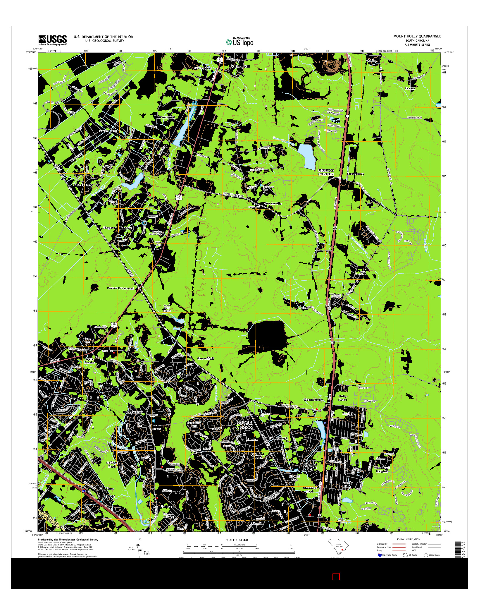 USGS US TOPO 7.5-MINUTE MAP FOR MOUNT HOLLY, SC 2014