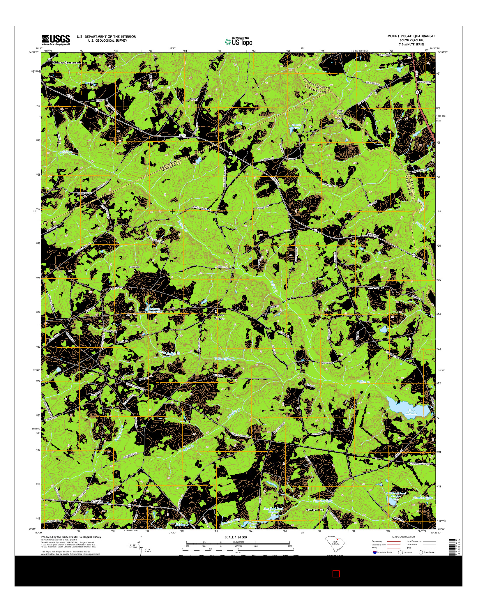 USGS US TOPO 7.5-MINUTE MAP FOR MOUNT PISGAH, SC 2014