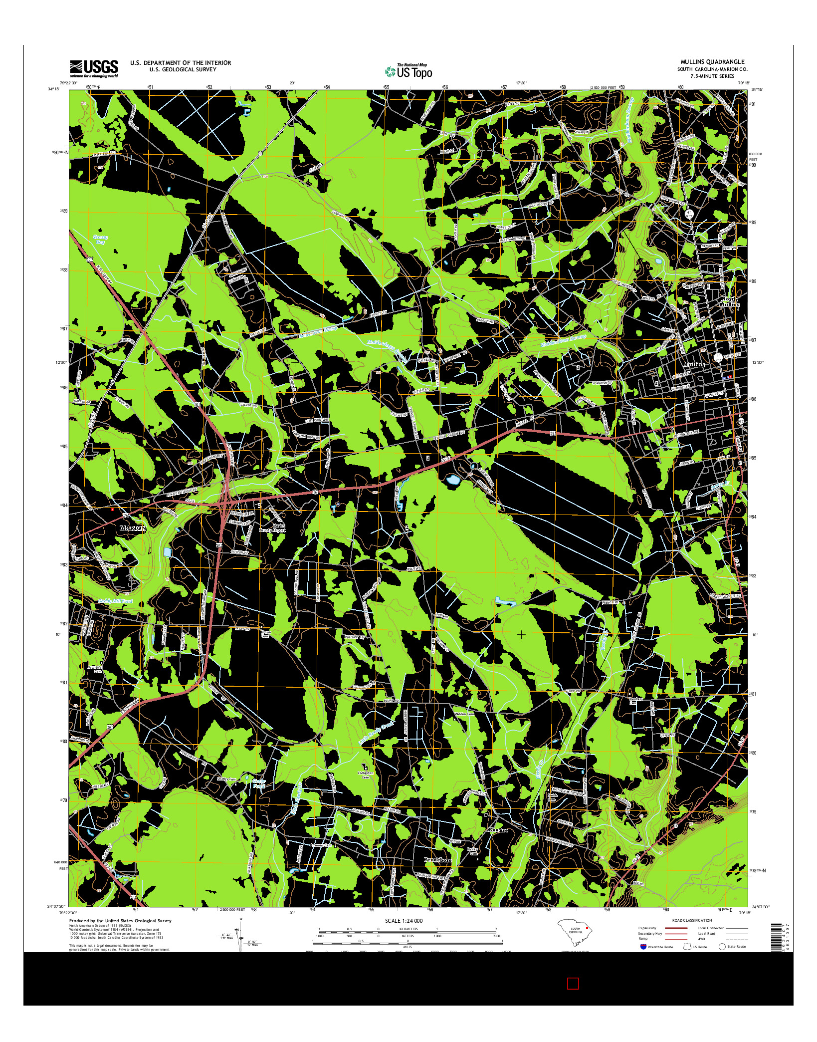 USGS US TOPO 7.5-MINUTE MAP FOR MULLINS, SC 2014