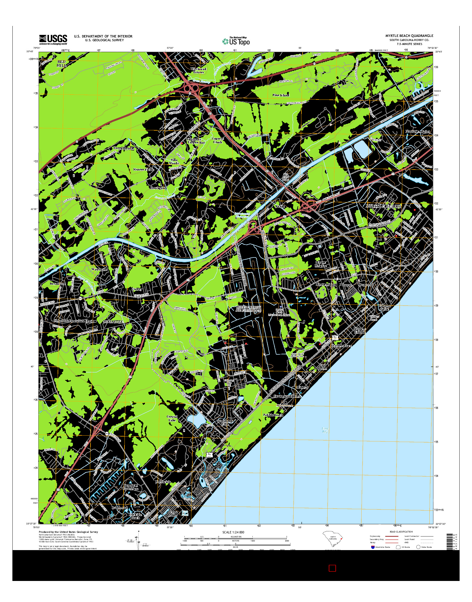 USGS US TOPO 7.5-MINUTE MAP FOR MYRTLE BEACH, SC 2014