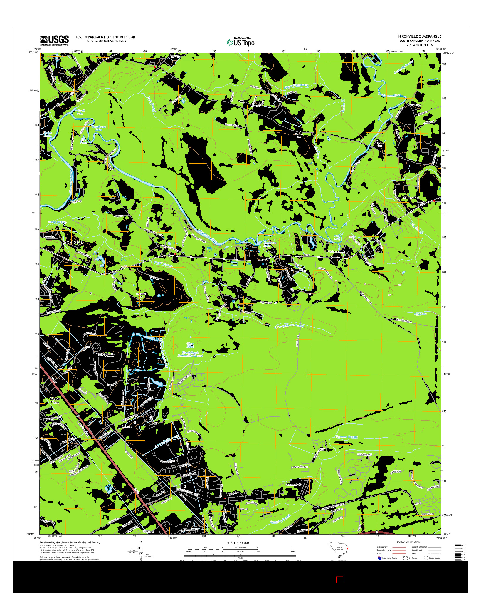 USGS US TOPO 7.5-MINUTE MAP FOR NIXONVILLE, SC 2014