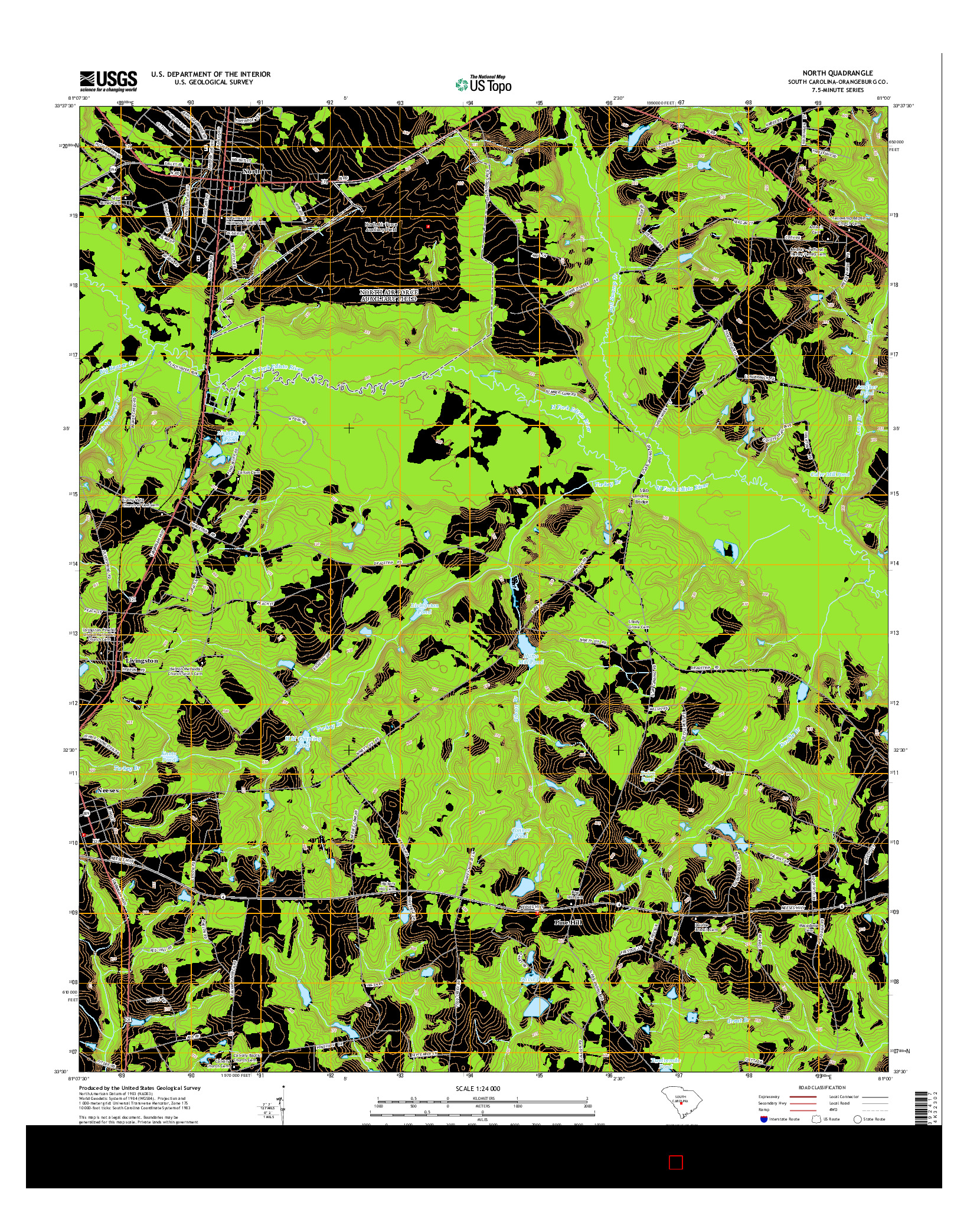 USGS US TOPO 7.5-MINUTE MAP FOR NORTH, SC 2014
