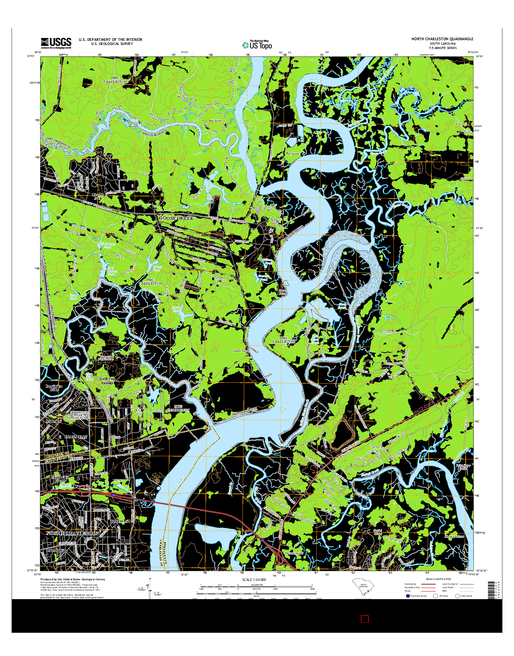 USGS US TOPO 7.5-MINUTE MAP FOR NORTH CHARLESTON, SC 2014