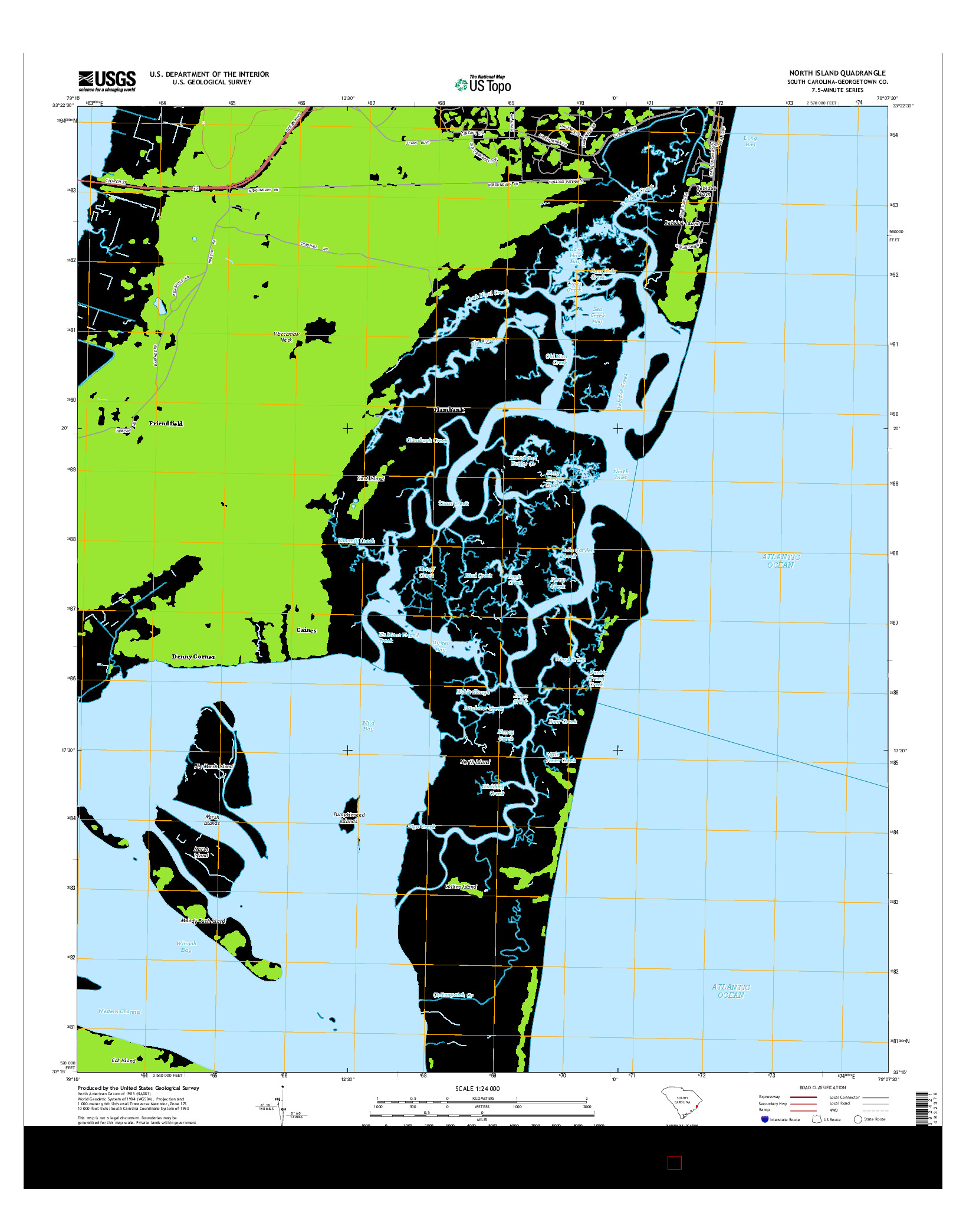 USGS US TOPO 7.5-MINUTE MAP FOR NORTH ISLAND, SC 2014