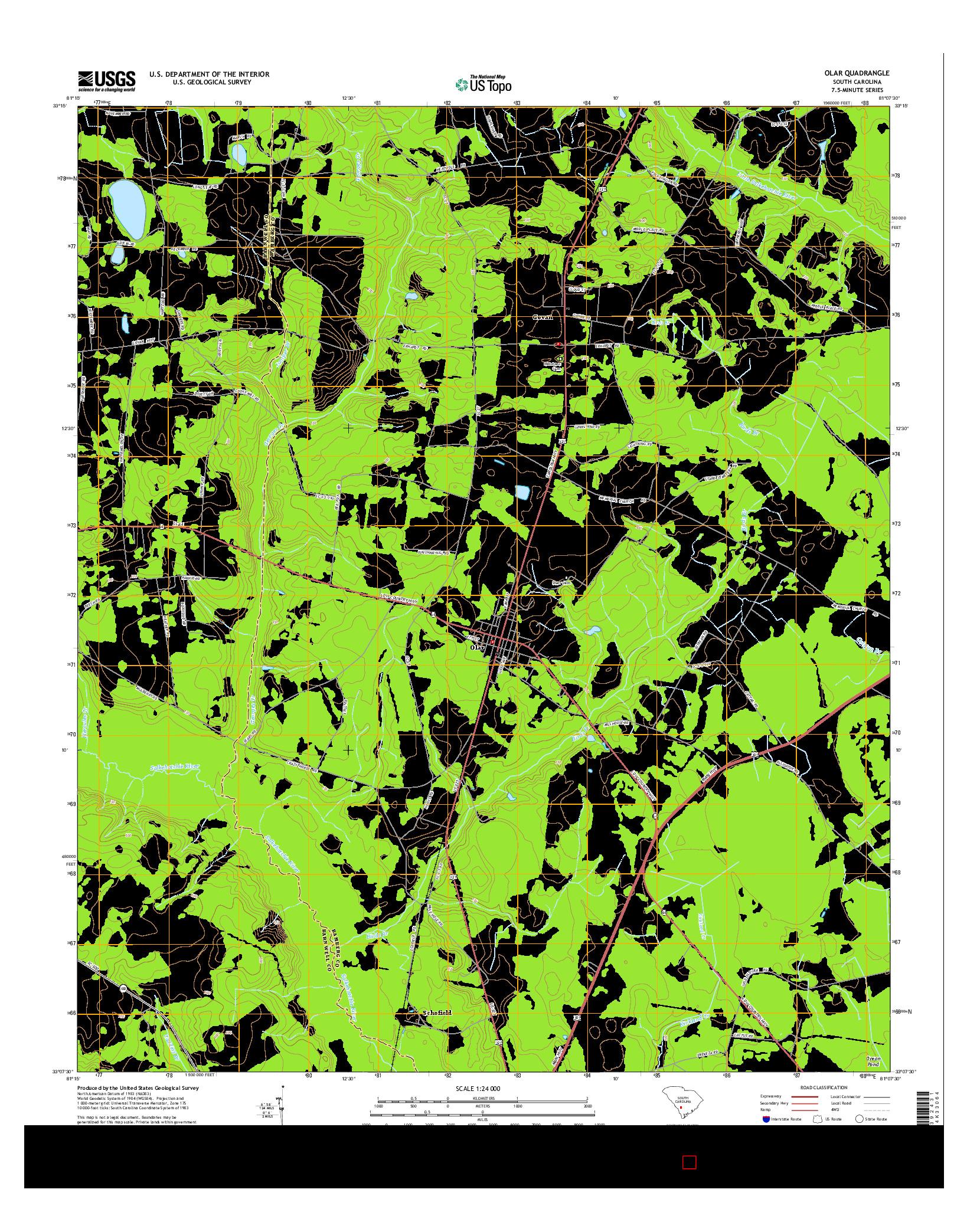USGS US TOPO 7.5-MINUTE MAP FOR OLAR, SC 2014