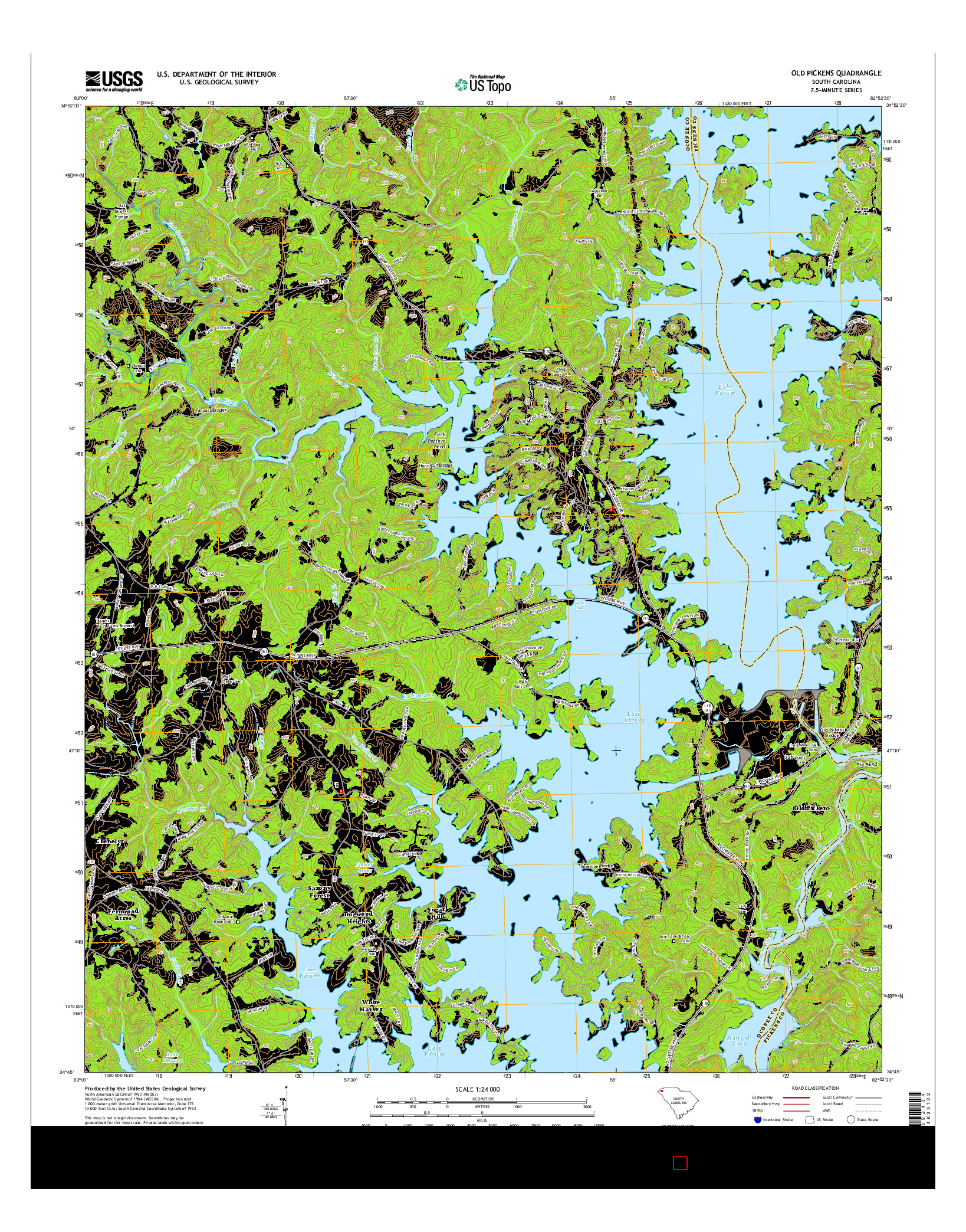 USGS US TOPO 7.5-MINUTE MAP FOR OLD PICKENS, SC 2014