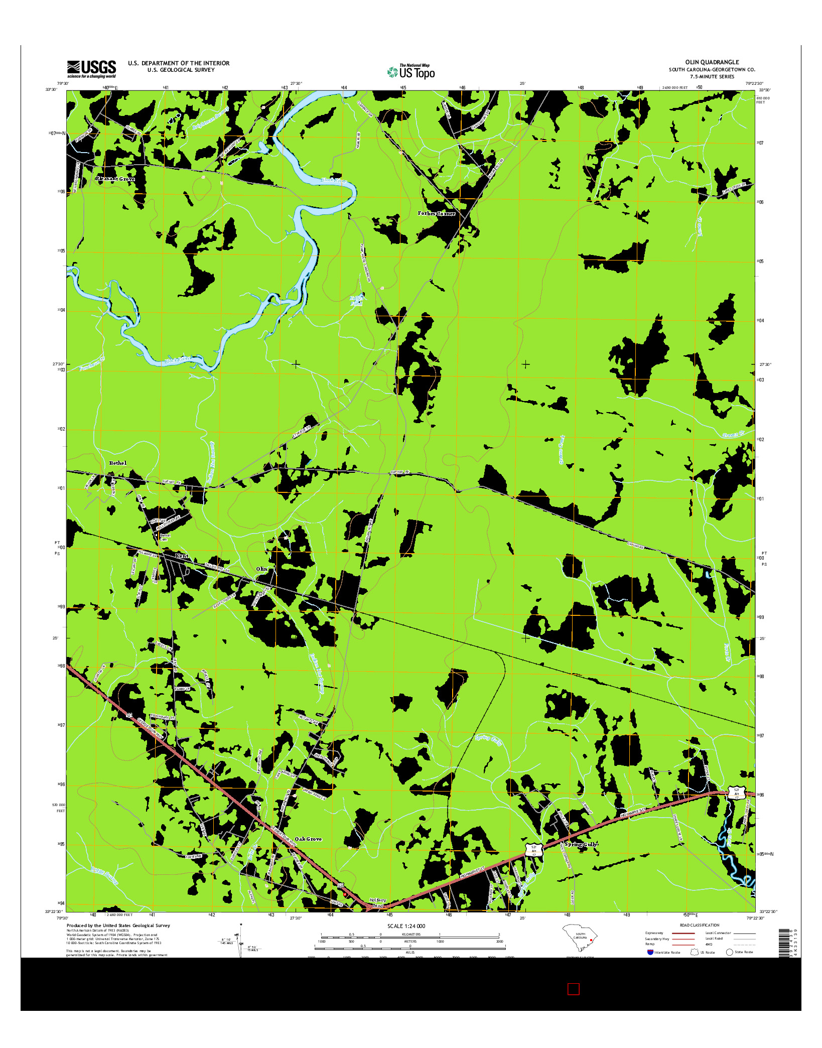 USGS US TOPO 7.5-MINUTE MAP FOR OLIN, SC 2014
