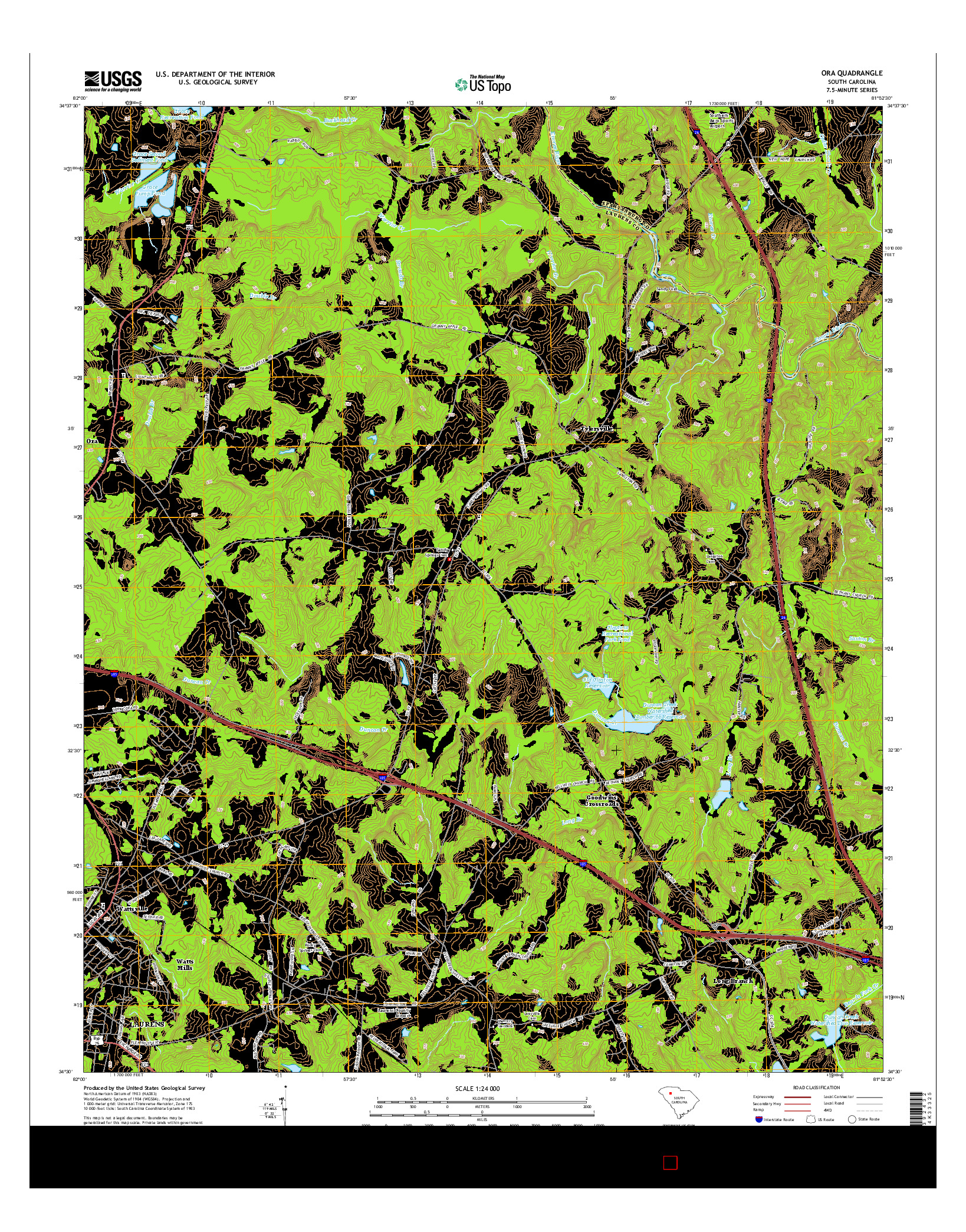 USGS US TOPO 7.5-MINUTE MAP FOR ORA, SC 2014