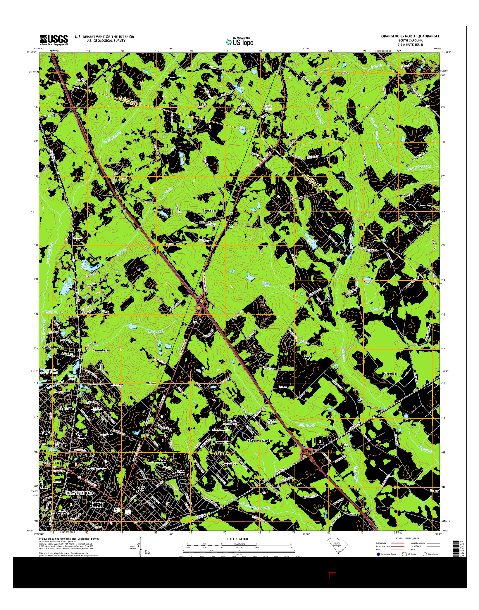 USGS US TOPO 7.5-MINUTE MAP FOR ORANGEBURG NORTH, SC 2014