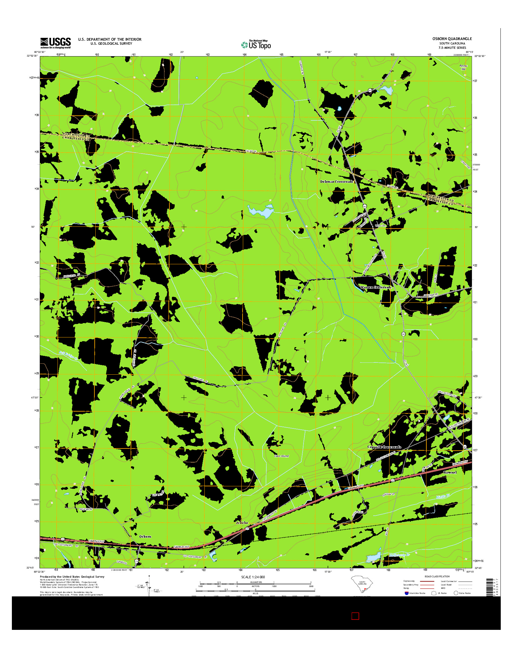 USGS US TOPO 7.5-MINUTE MAP FOR OSBORN, SC 2014