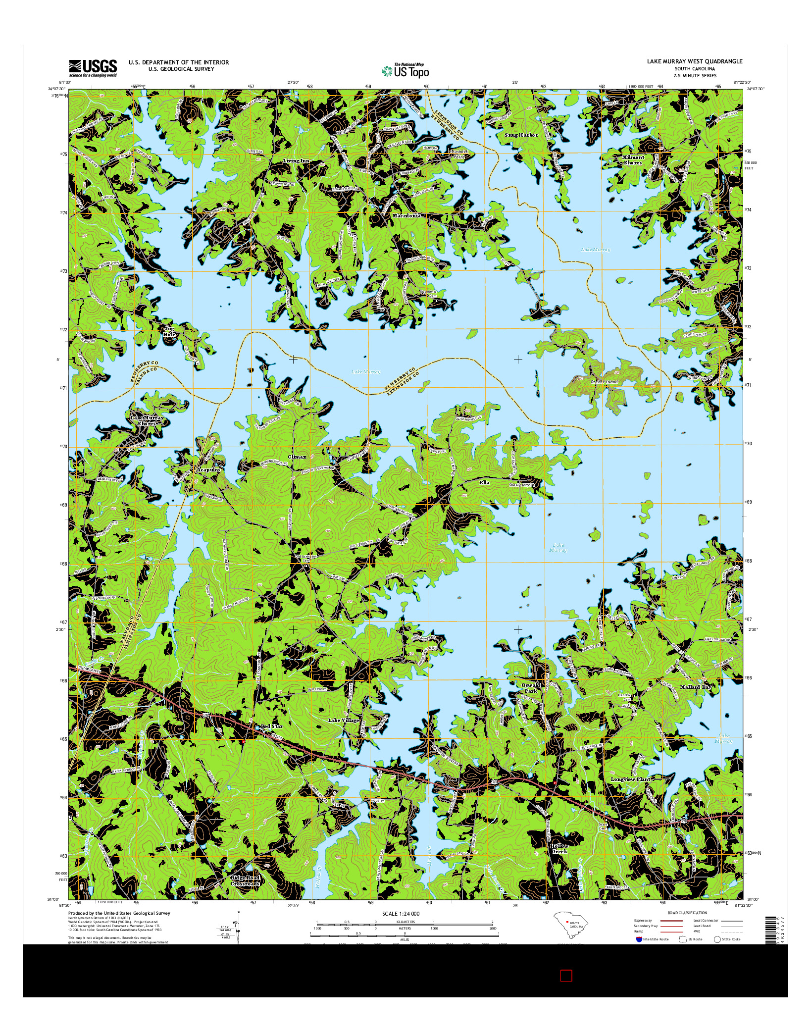 USGS US TOPO 7.5-MINUTE MAP FOR LAKE MURRAY WEST, SC 2014