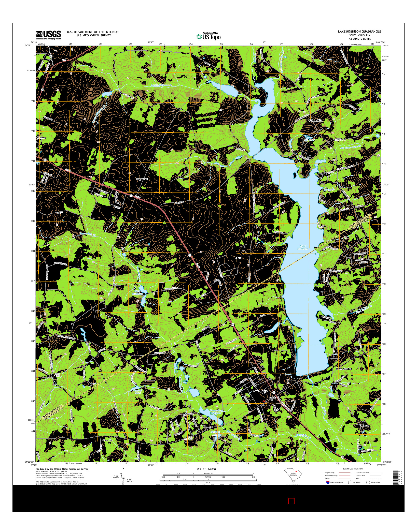 USGS US TOPO 7.5-MINUTE MAP FOR LAKE ROBINSON, SC 2014