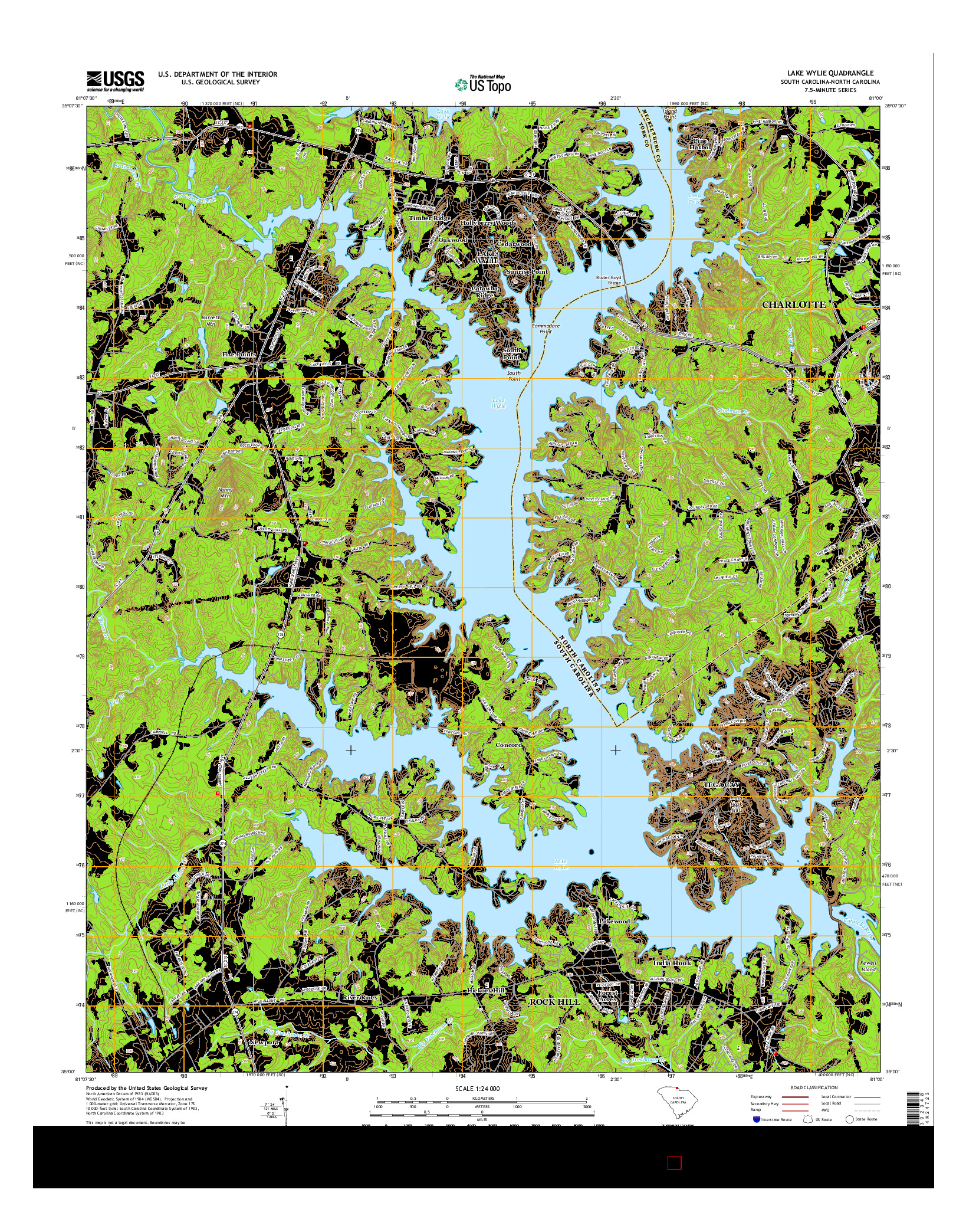 USGS US TOPO 7.5-MINUTE MAP FOR LAKE WYLIE, SC-NC 2014