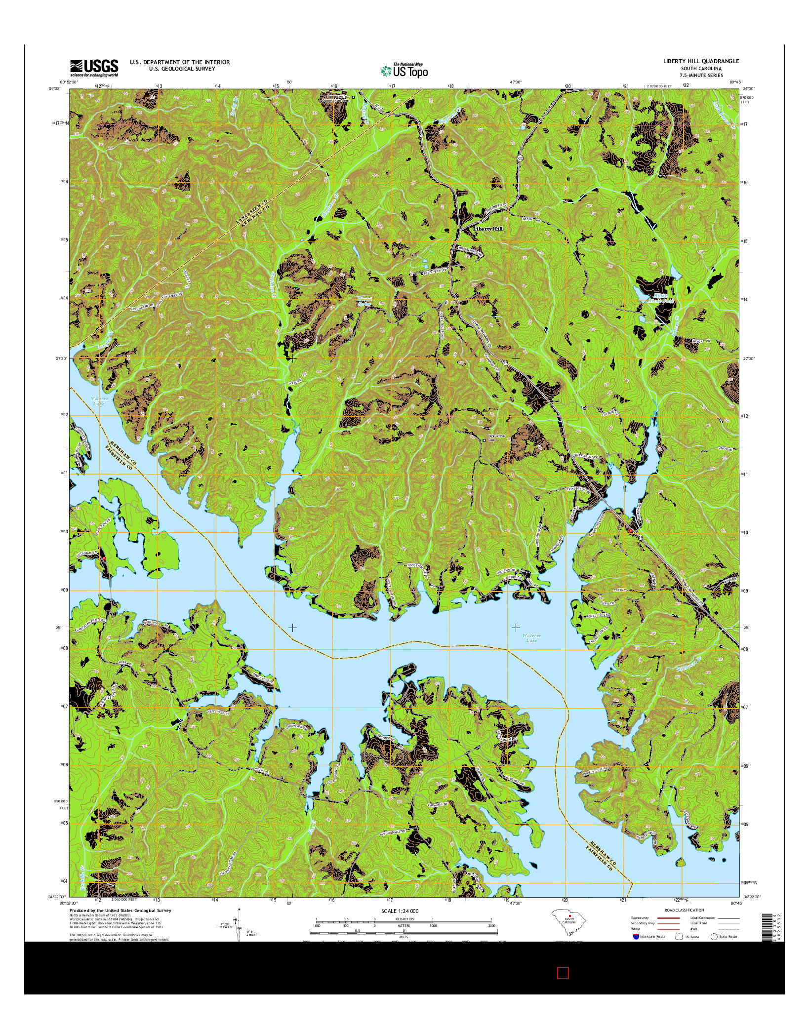 USGS US TOPO 7.5-MINUTE MAP FOR LIBERTY HILL, SC 2014