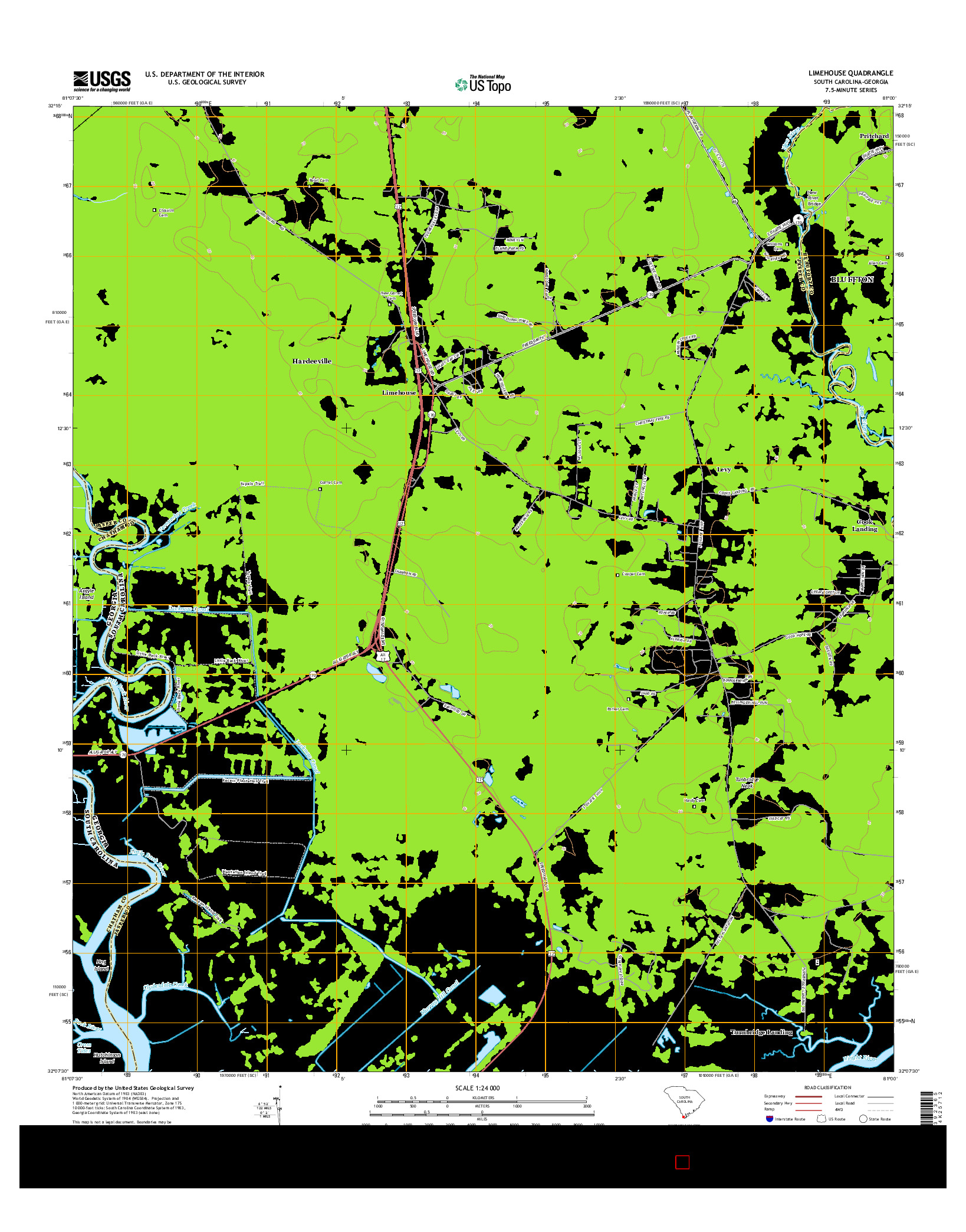 USGS US TOPO 7.5-MINUTE MAP FOR LIMEHOUSE, SC-GA 2014