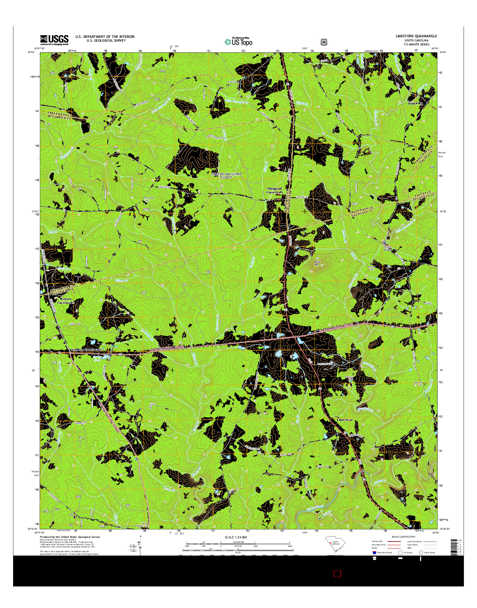 USGS US TOPO 7.5-MINUTE MAP FOR LIMESTONE, SC 2014