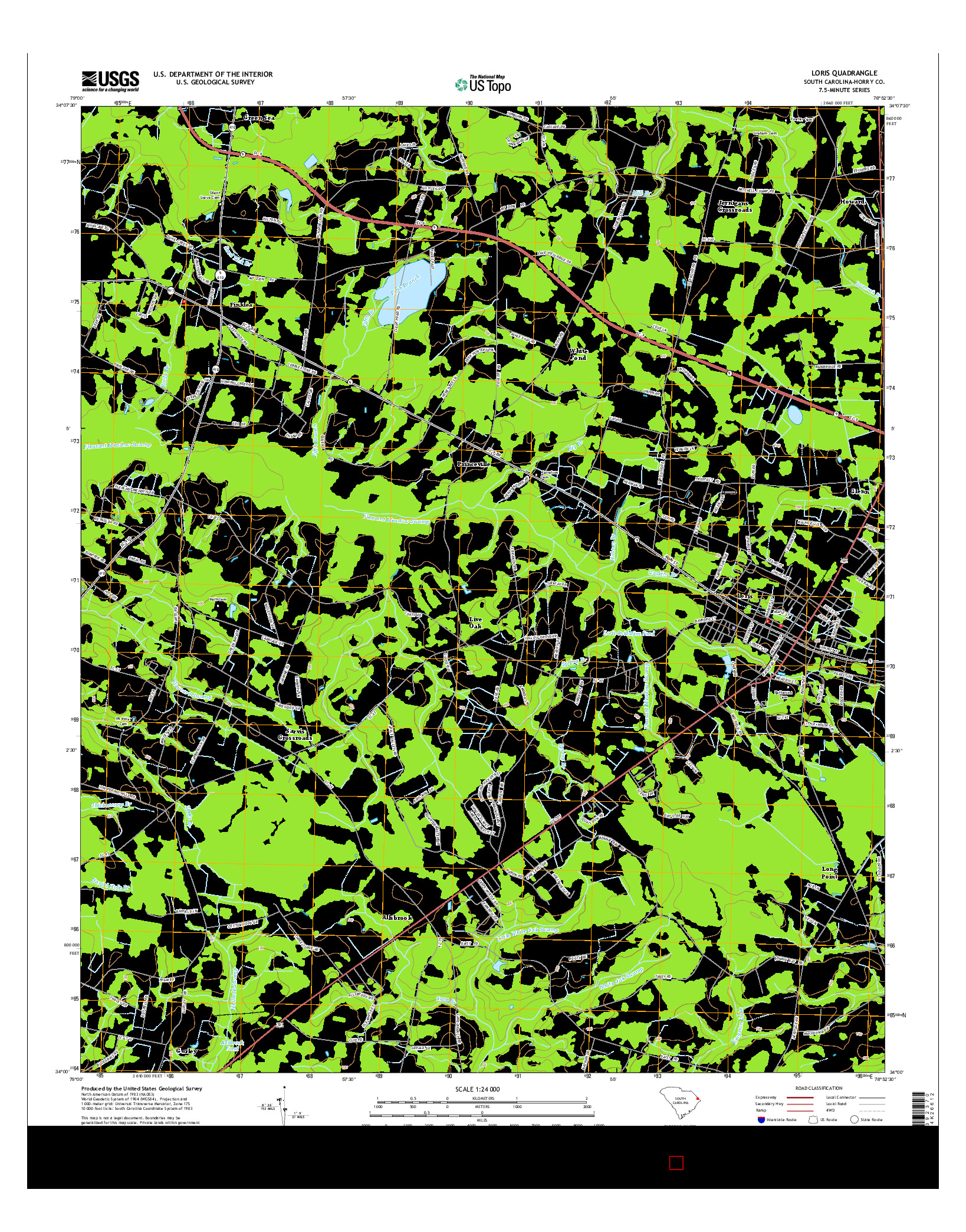USGS US TOPO 7.5-MINUTE MAP FOR LORIS, SC 2014