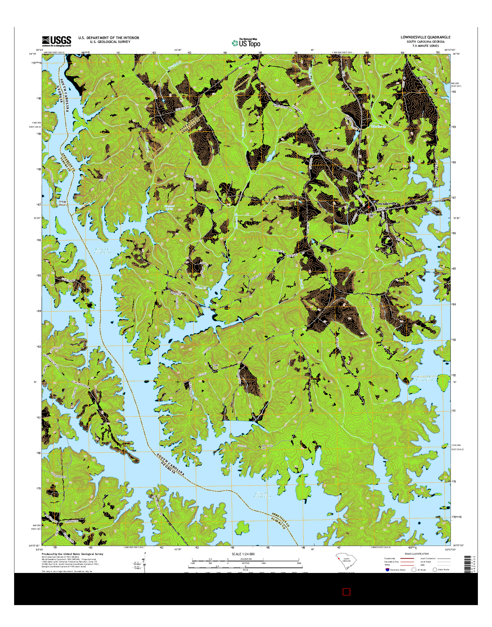 USGS US TOPO 7.5-MINUTE MAP FOR LOWNDESVILLE, SC-GA 2014