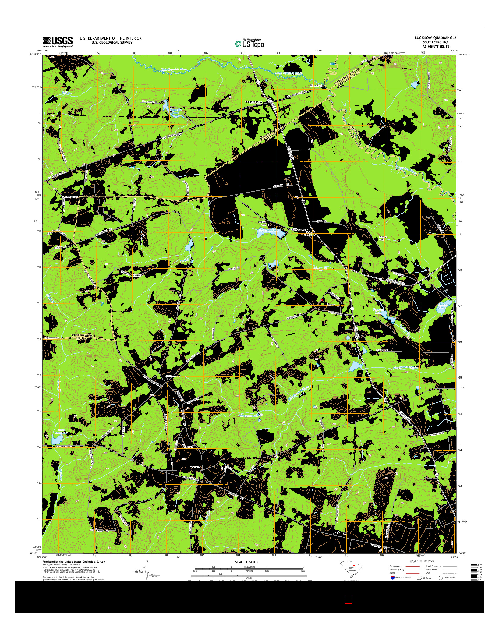 USGS US TOPO 7.5-MINUTE MAP FOR LUCKNOW, SC 2014