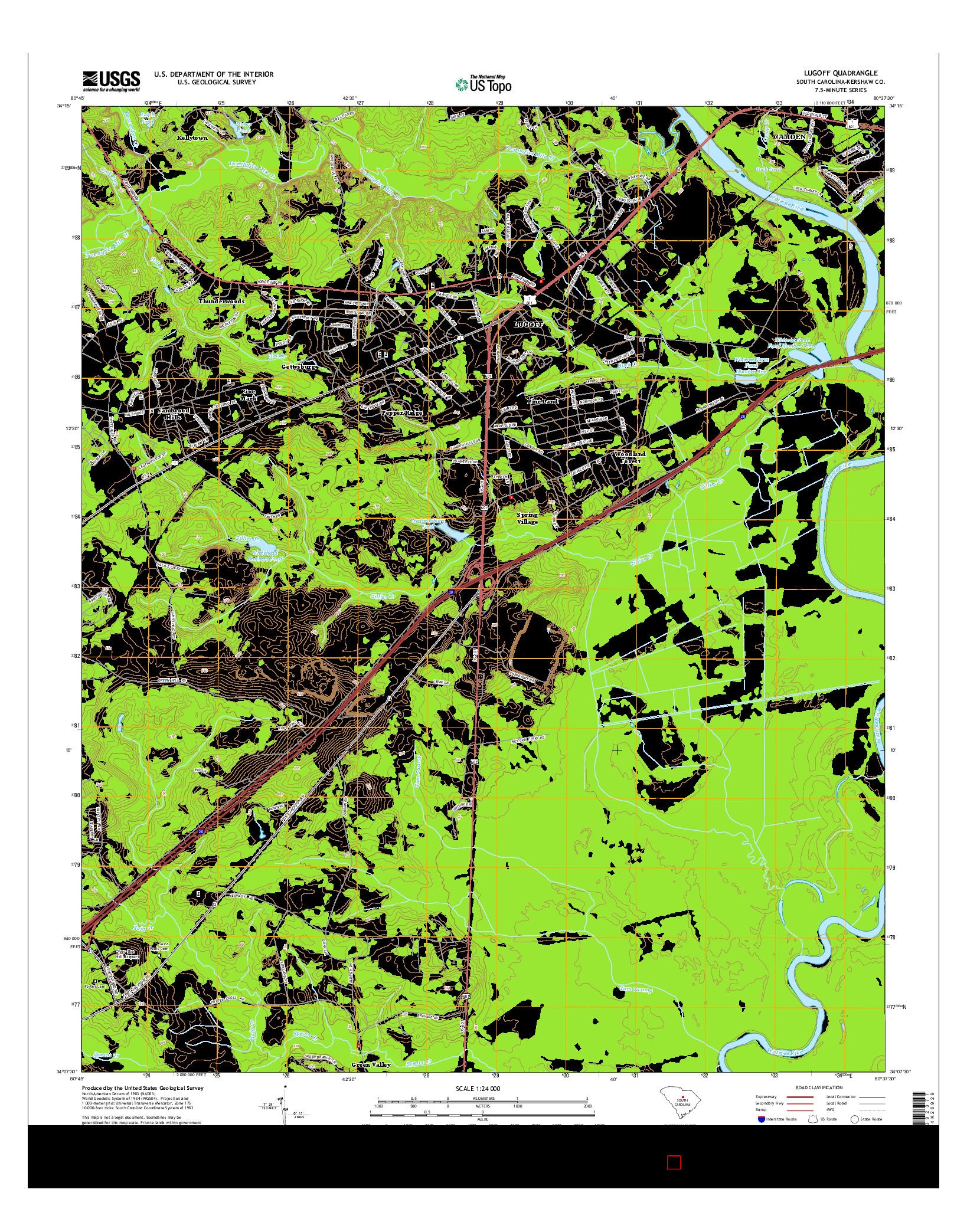 USGS US TOPO 7.5-MINUTE MAP FOR LUGOFF, SC 2014