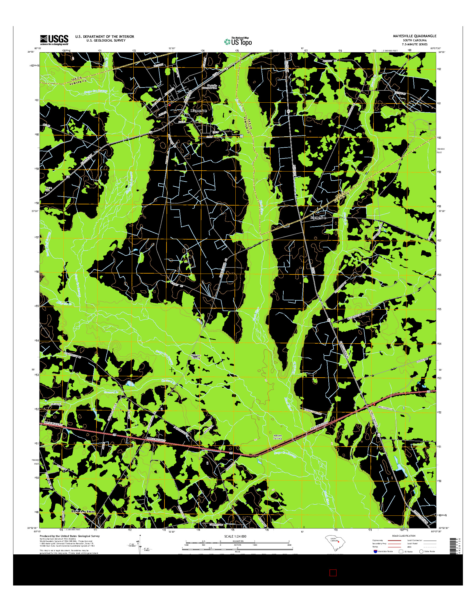 Usgs Us Topo 7 5 Minute Map For Mayesville Sc 2014