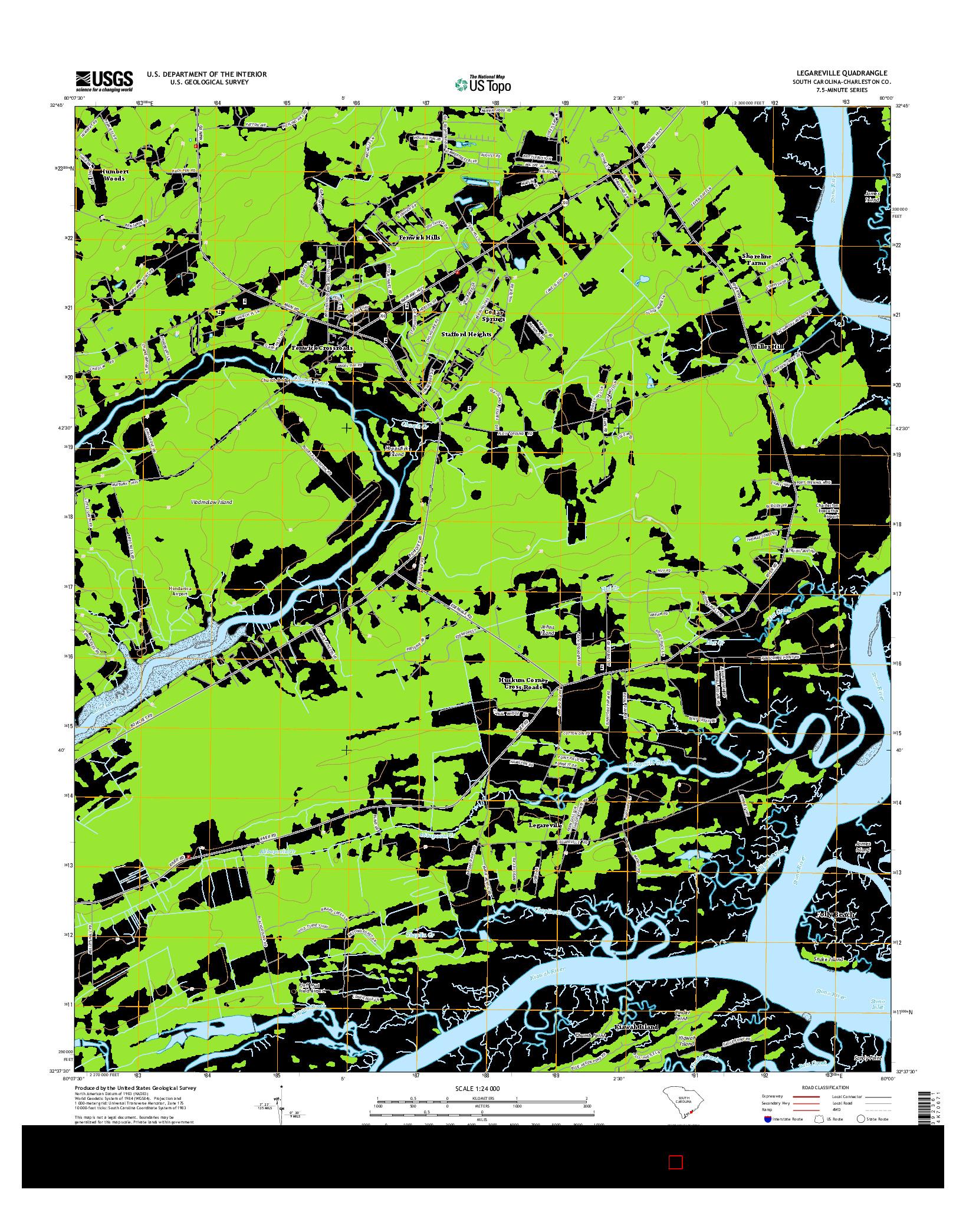 USGS US TOPO 7.5-MINUTE MAP FOR LEGAREVILLE, SC 2014