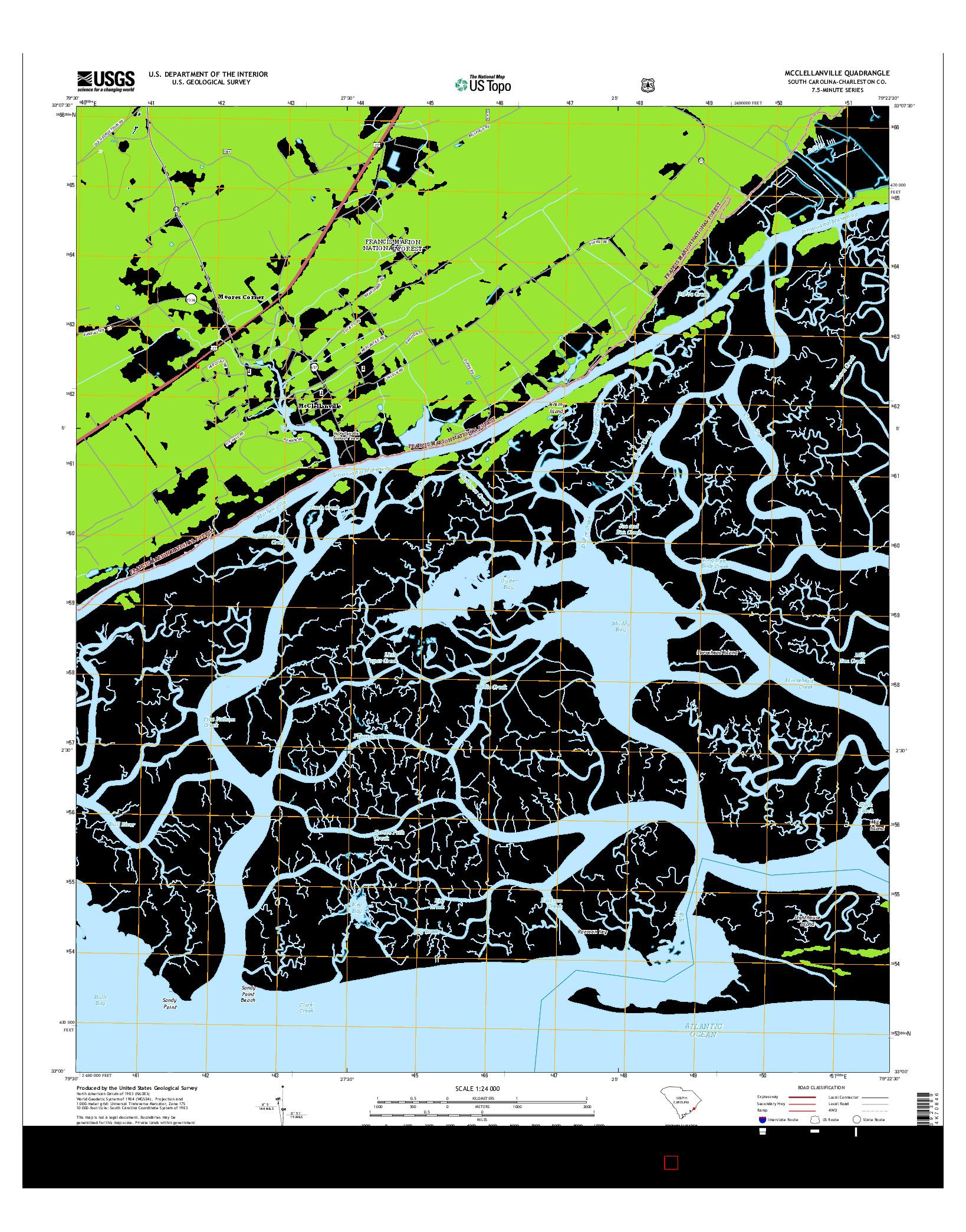 USGS US TOPO 7.5-MINUTE MAP FOR MCCLELLANVILLE, SC 2014
